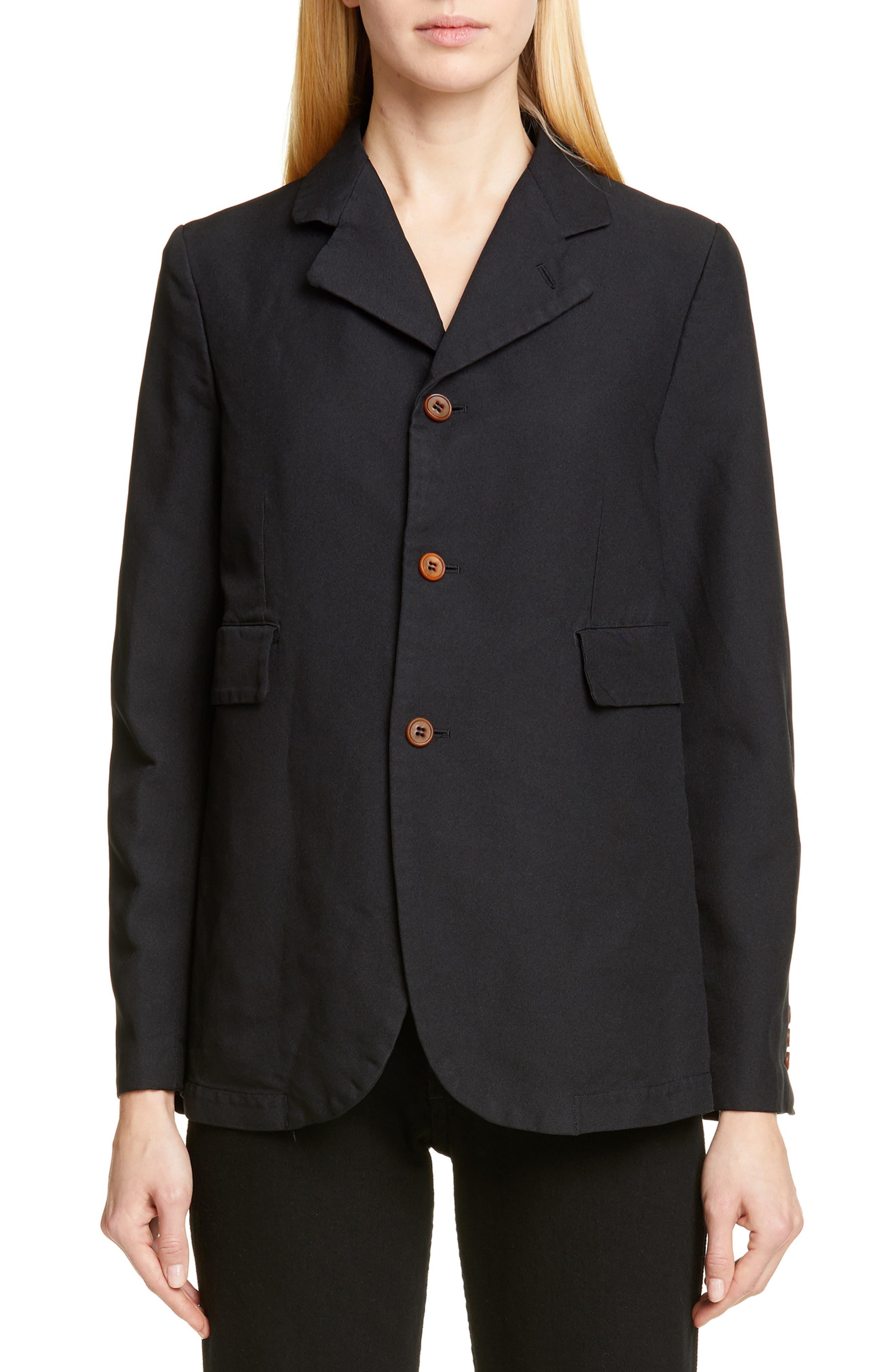 Twill Blazer, Main, color, BLACK