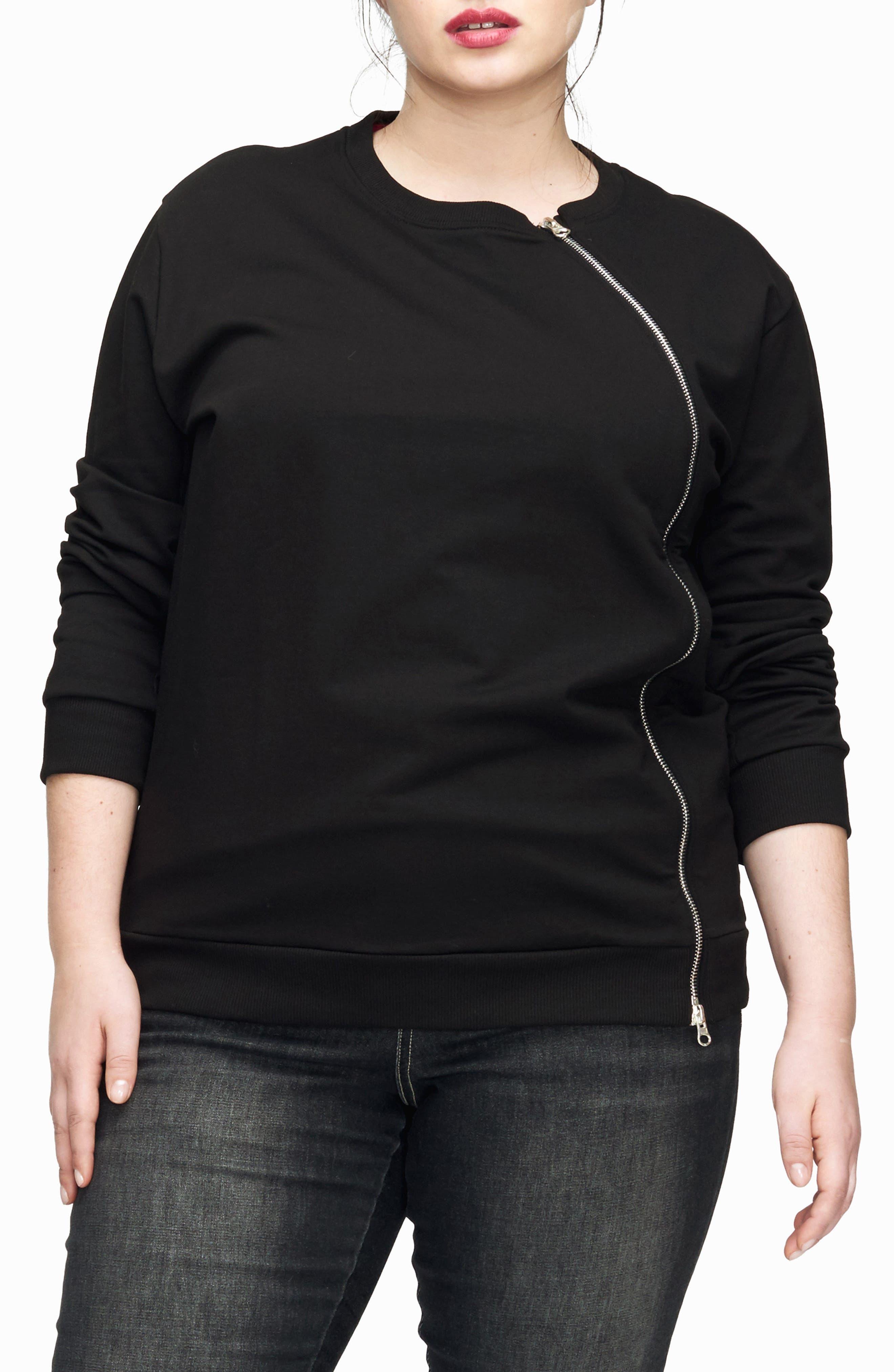 Plus Size Universal Standard Meridian Zip Front Sweatshirt, Black