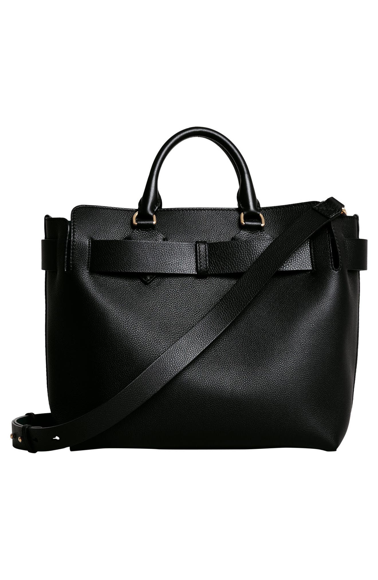 Medium Belt Bag Leather Tote,                             Alternate thumbnail 4, color,                             001