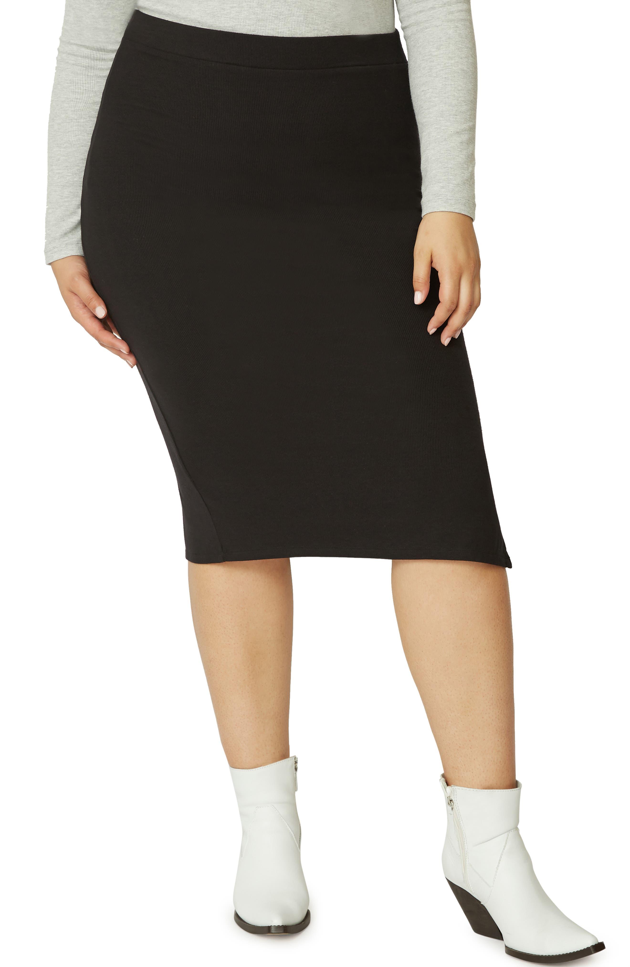 Plus Size Sanctuary Essentials Knit Skirt, Black