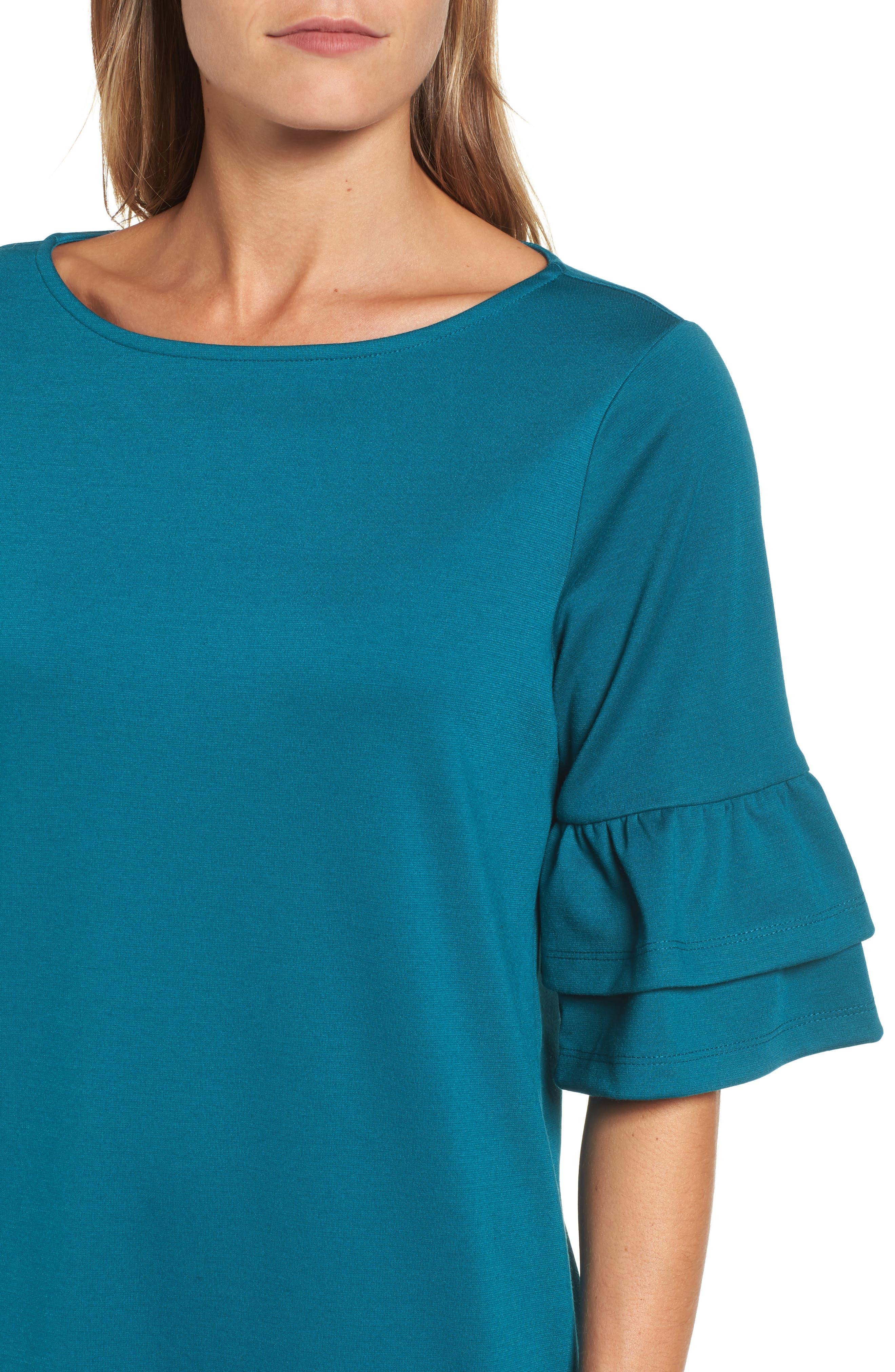 Ruffle Sleeve Shift Dress,                             Alternate thumbnail 4, color,                             440