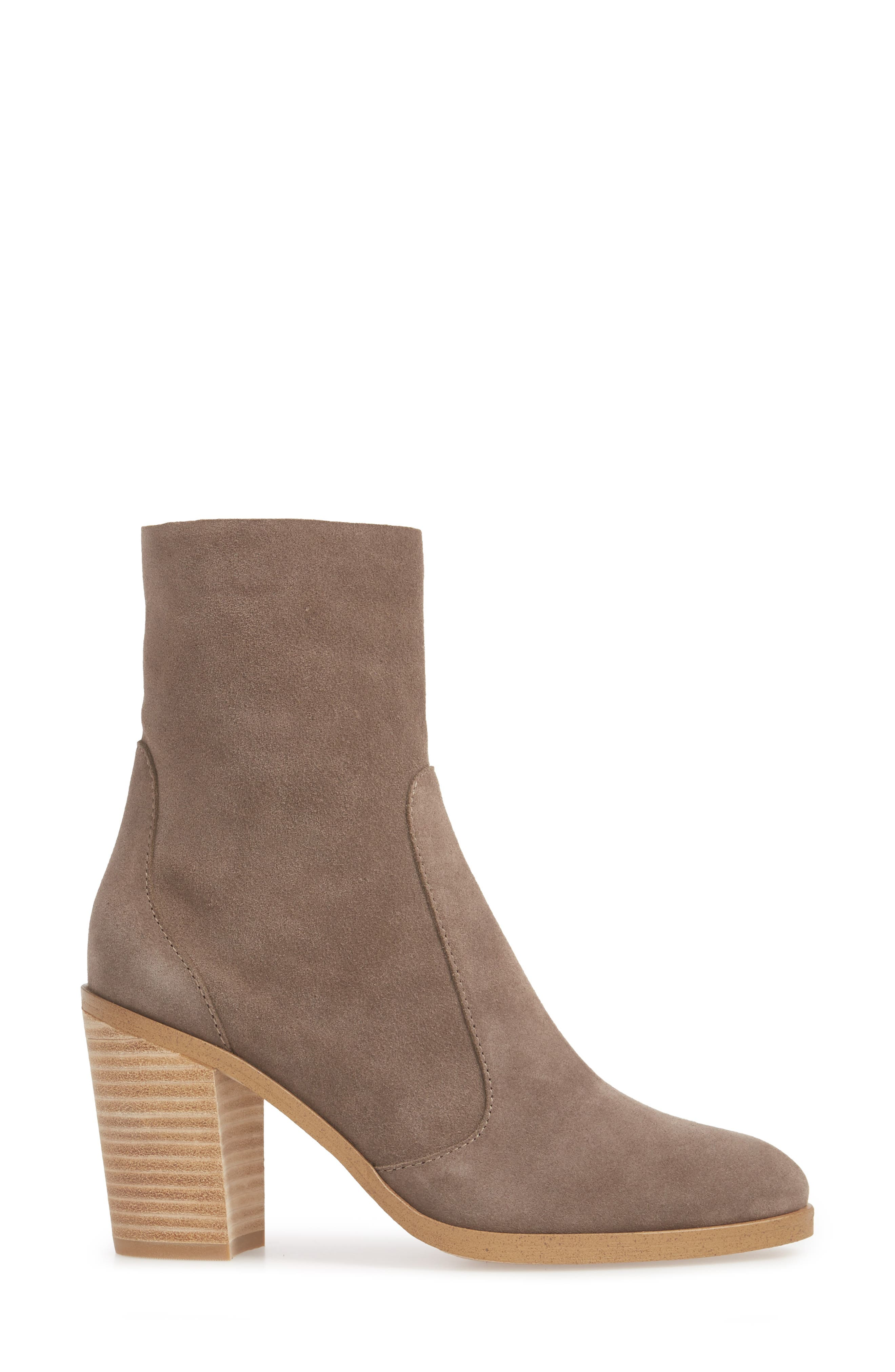 Roselyn II Almond Toe Bootie,                             Alternate thumbnail 3, color,                             LIGHT CHARCOAL SUEDE
