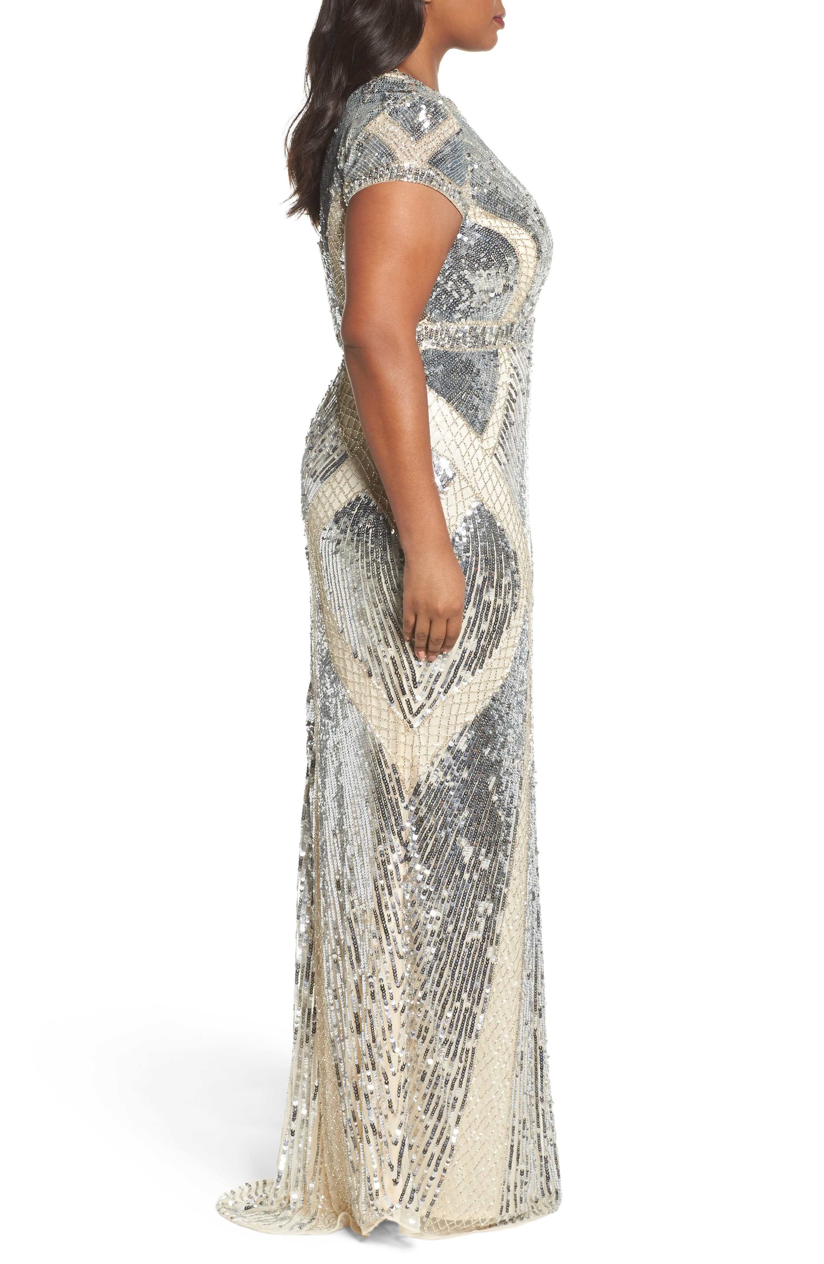 Jewel Neck Sequin Gown,                             Alternate thumbnail 3, color,                             SILVER/ NUDE
