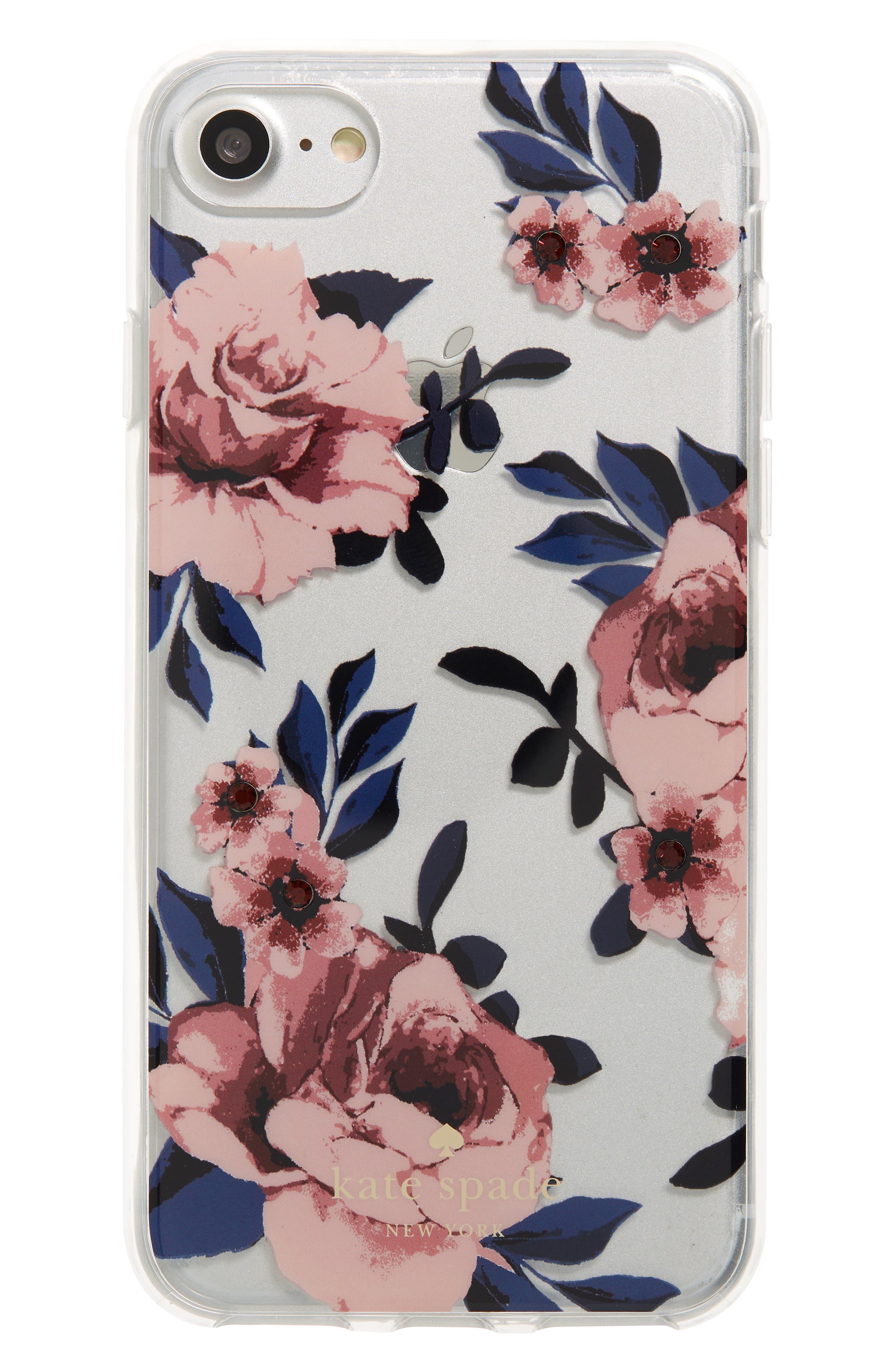 crystal prairie rose iPhone 7/8 & 7/8 Plus case,                             Main thumbnail 1, color,                             PINK MULTI