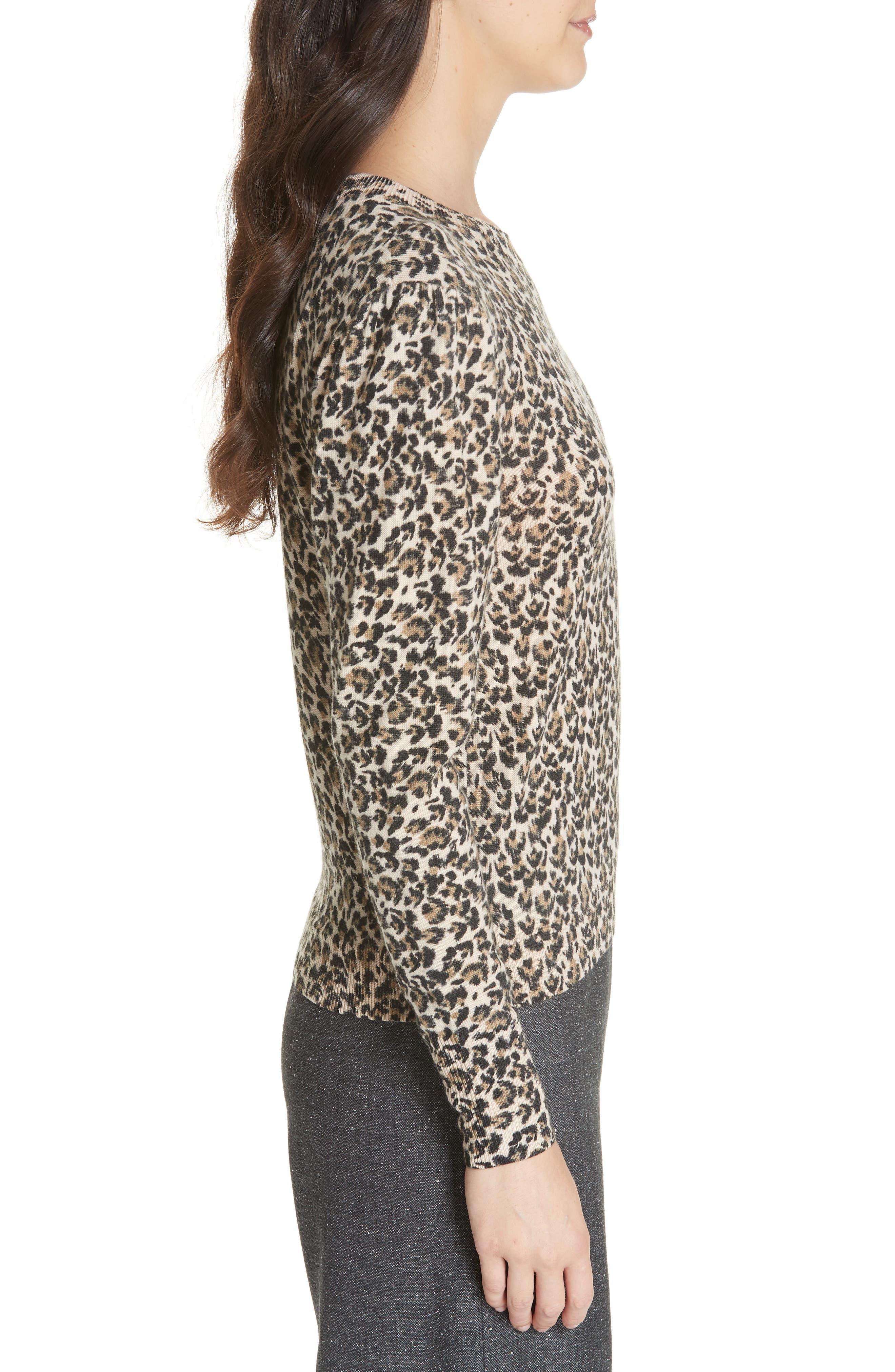 Leopard Print Wool Sweater,                             Alternate thumbnail 3, color,                             250