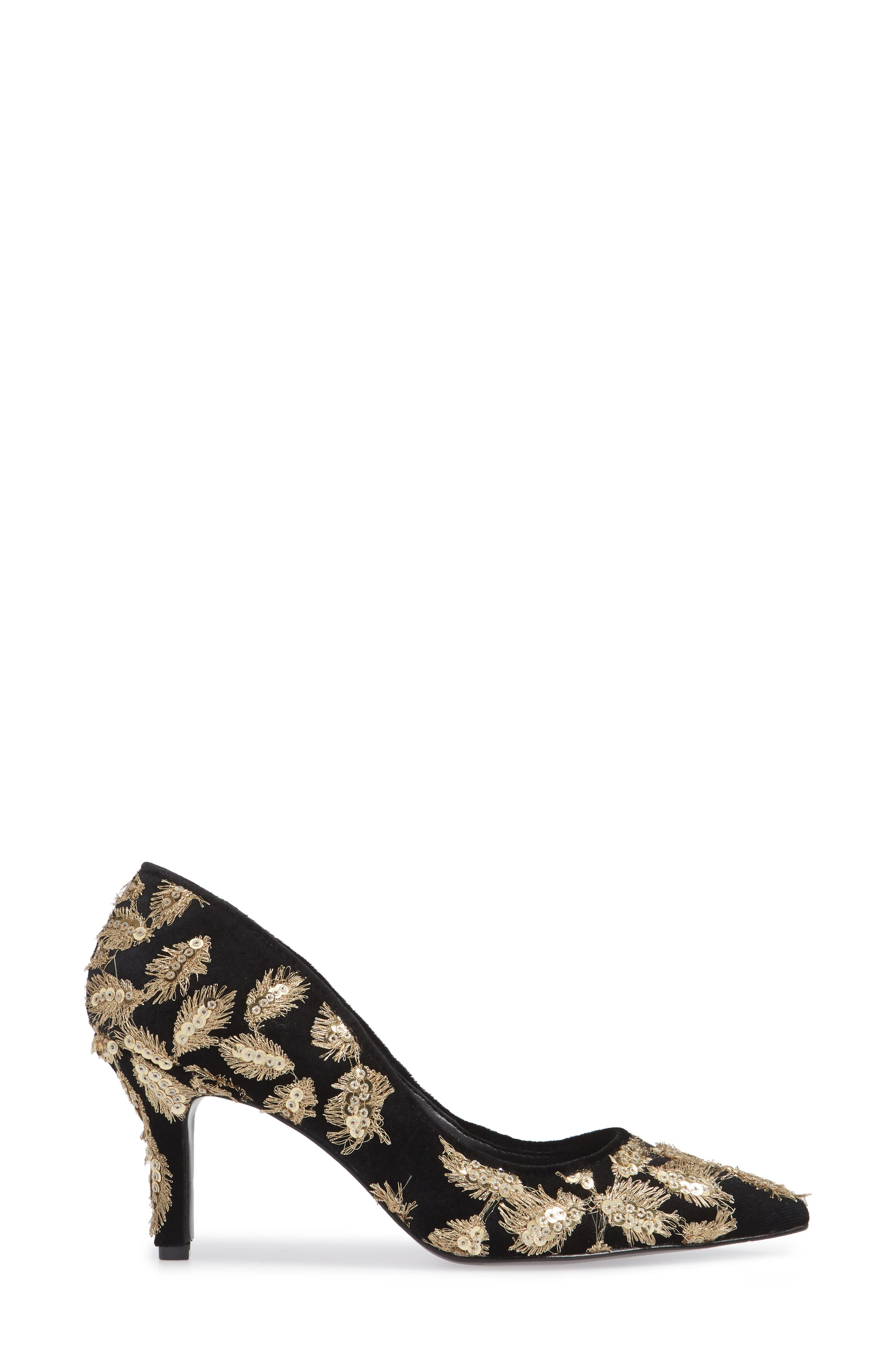 Sophie Embellished Pump,                             Alternate thumbnail 3, color,                             GOLD MULTI VELVET