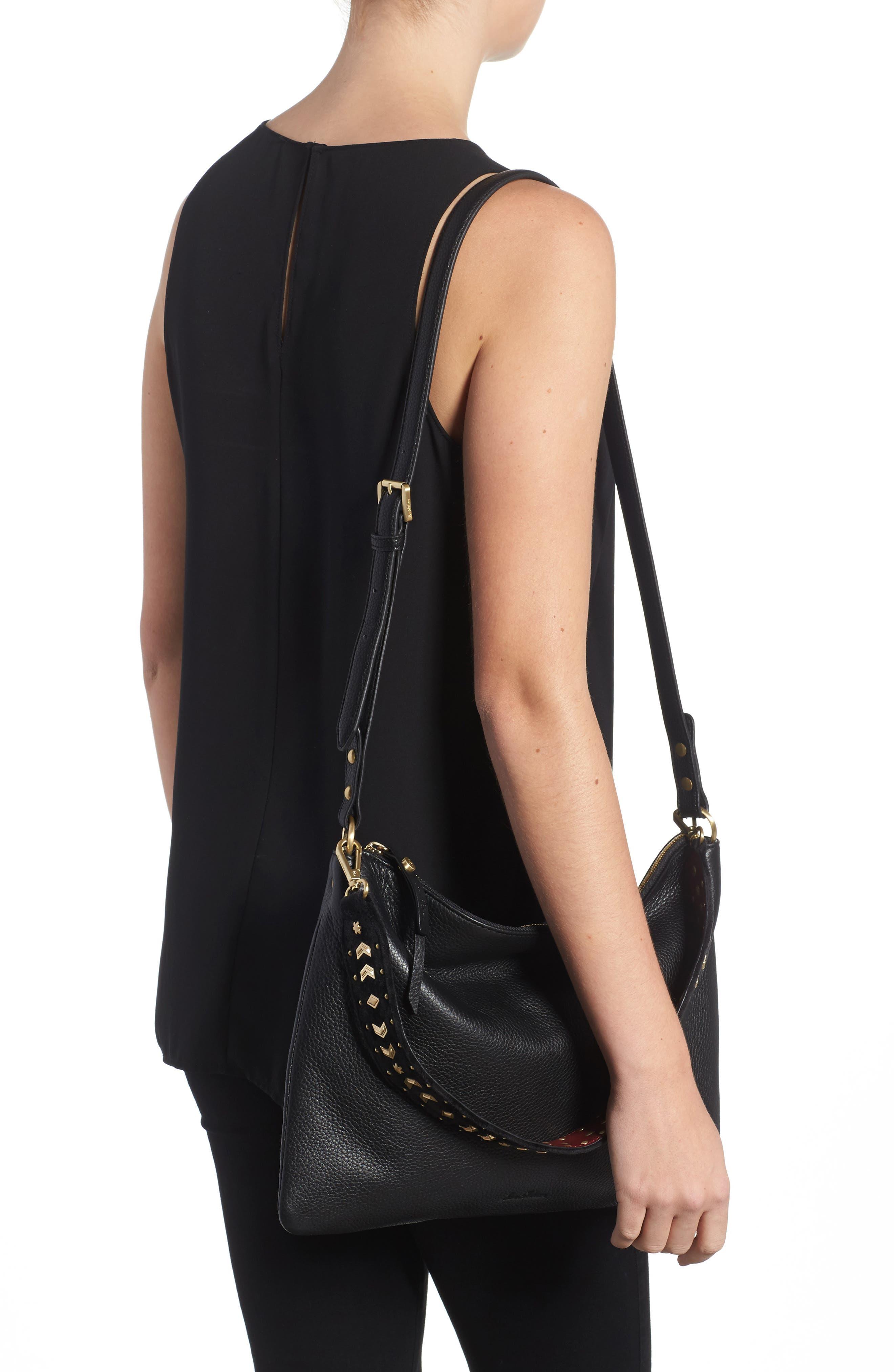 Raelyn Leather Shoulder Bag,                             Alternate thumbnail 2, color,                             001