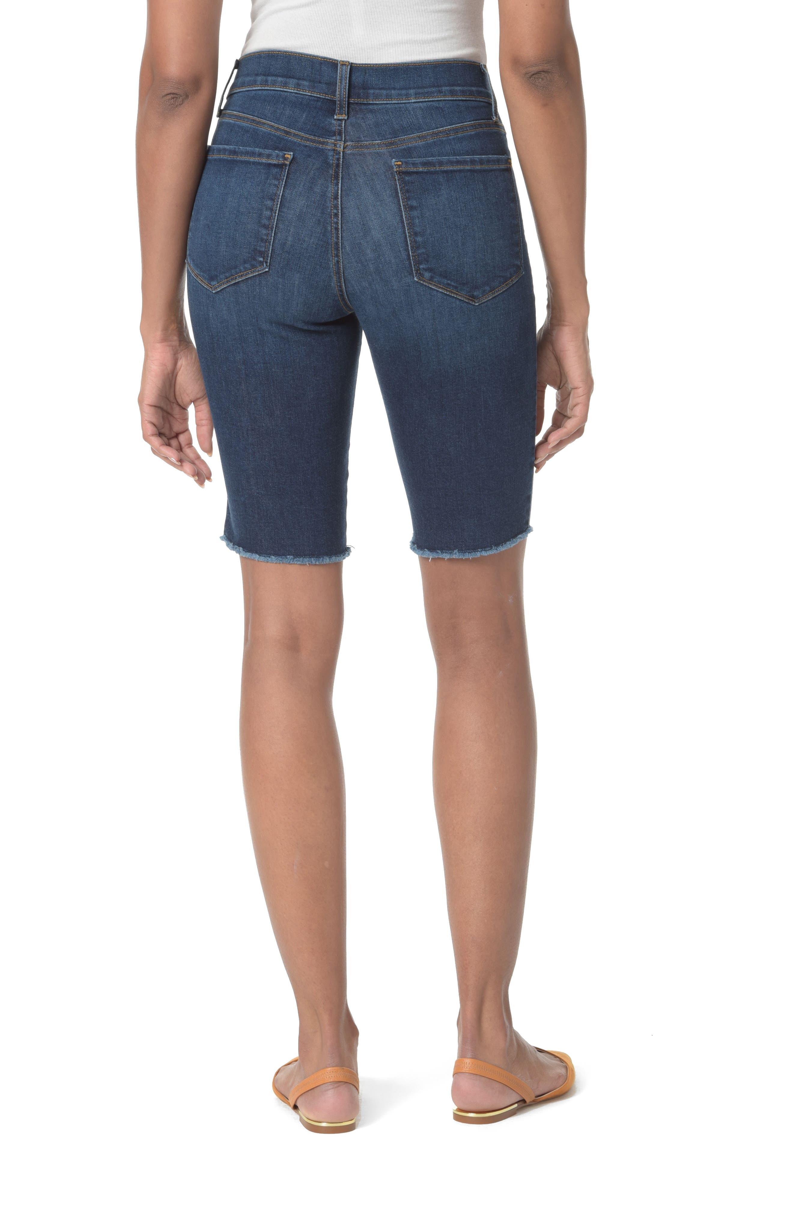 Briella Fray Hem Denim Bermuda Shorts,                             Alternate thumbnail 2, color,                             COOPER
