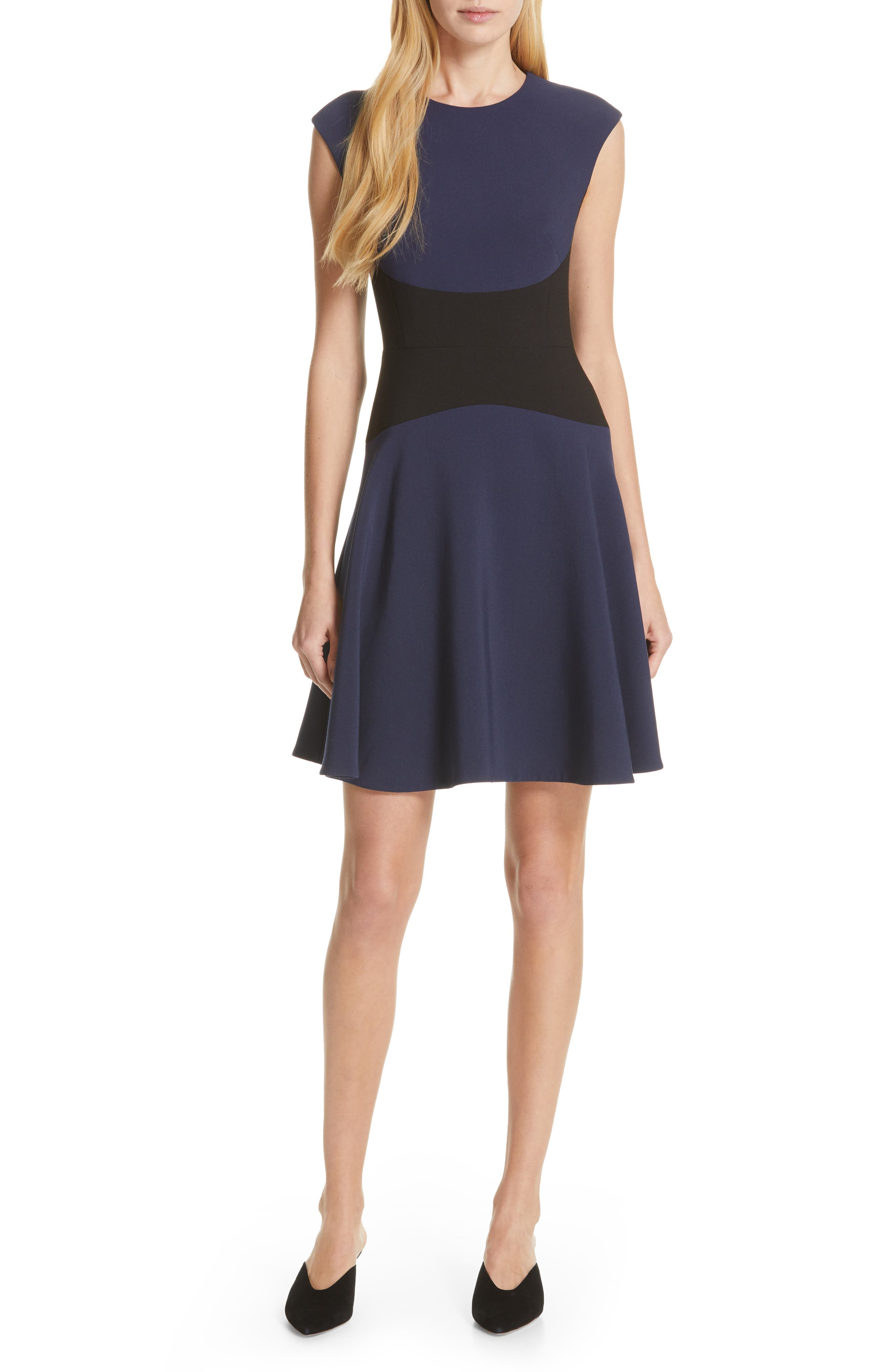 Kate Spade New York Colorblock Fit & Flare Dress, Blue