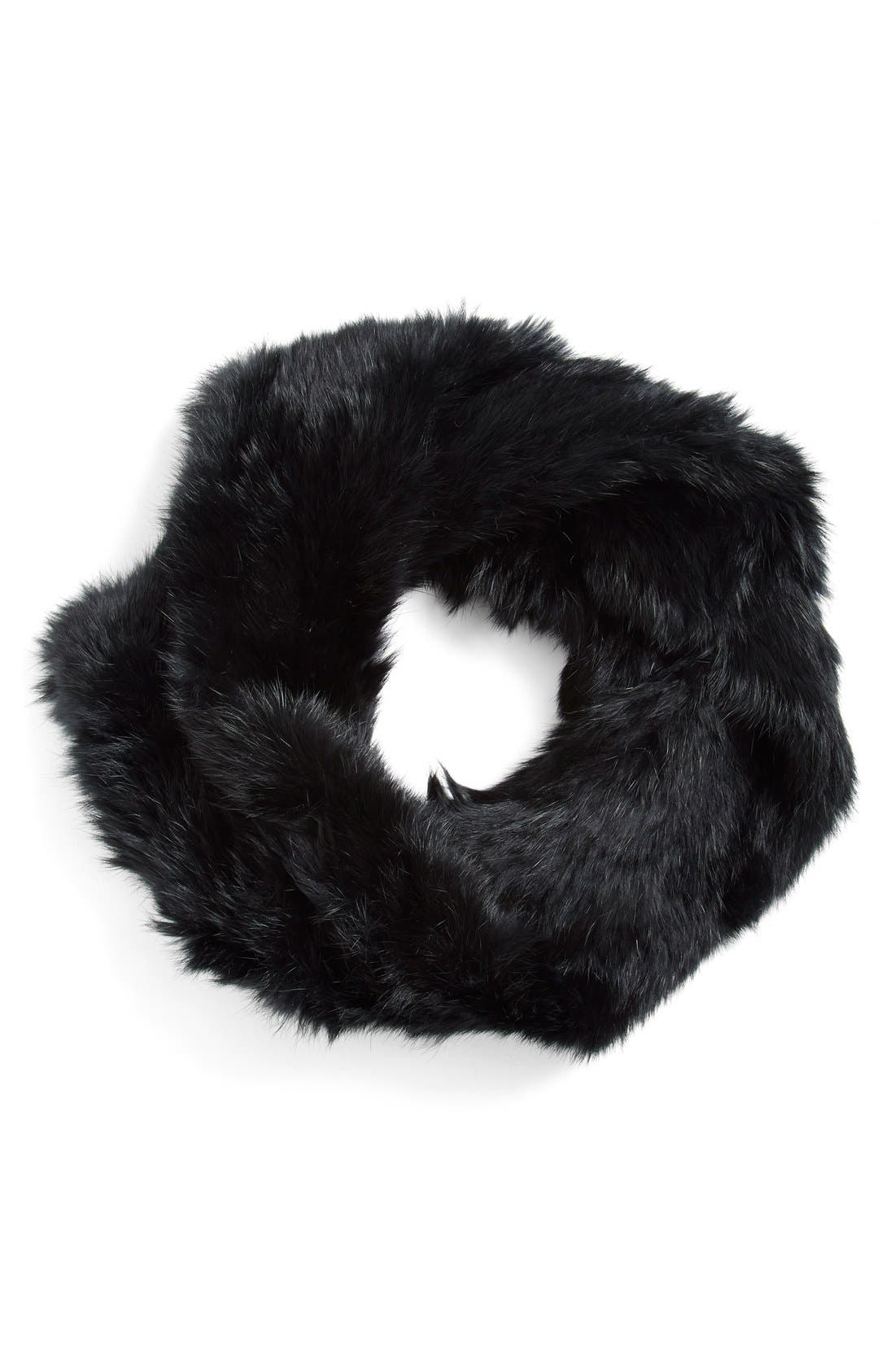 Rabbit Fur Infinity Scarf,                         Main,                         color, 001