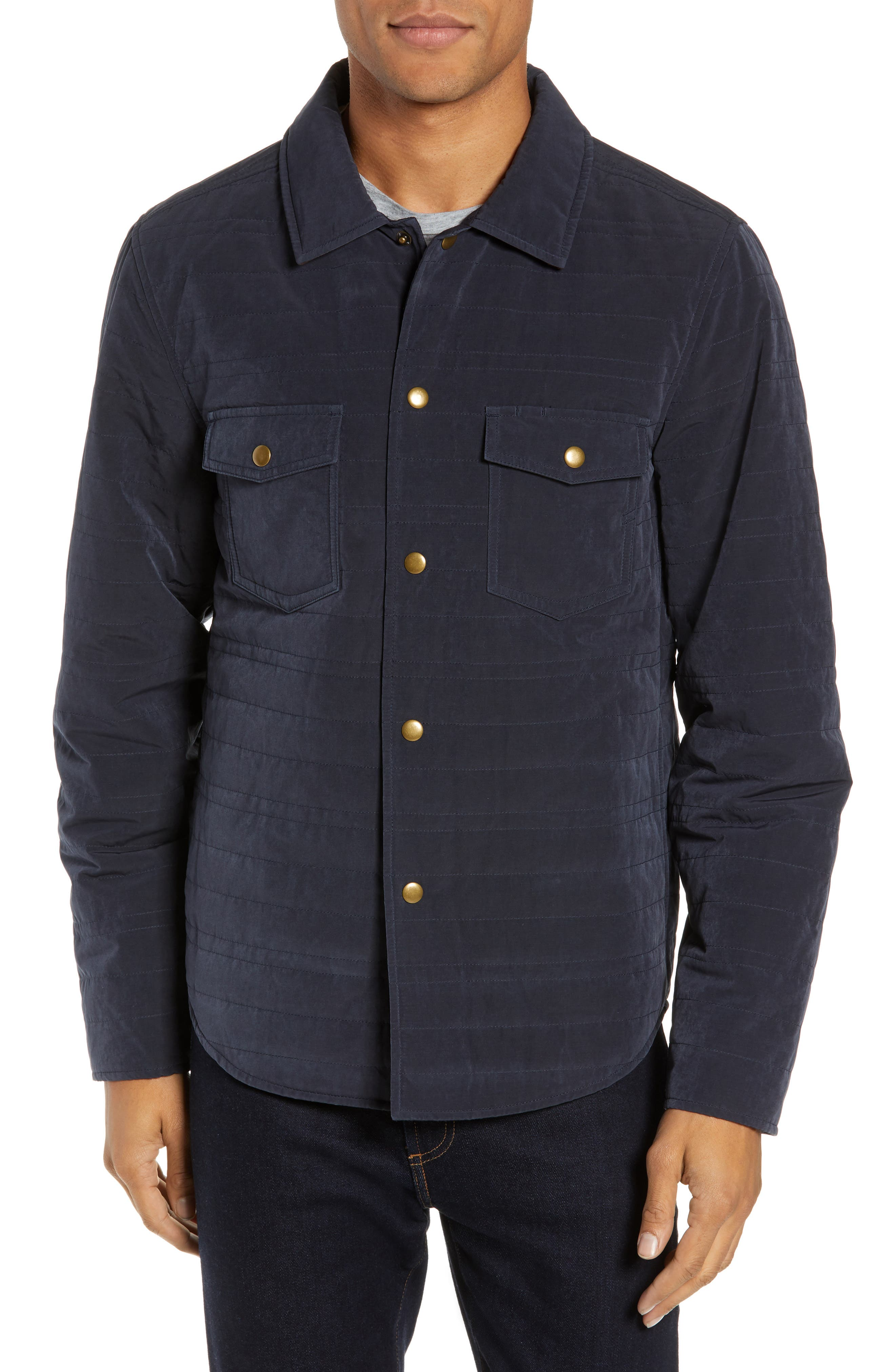 Michael Slim Fit Quilted Shirt Jacket,                             Alternate thumbnail 4, color,                             NAVY