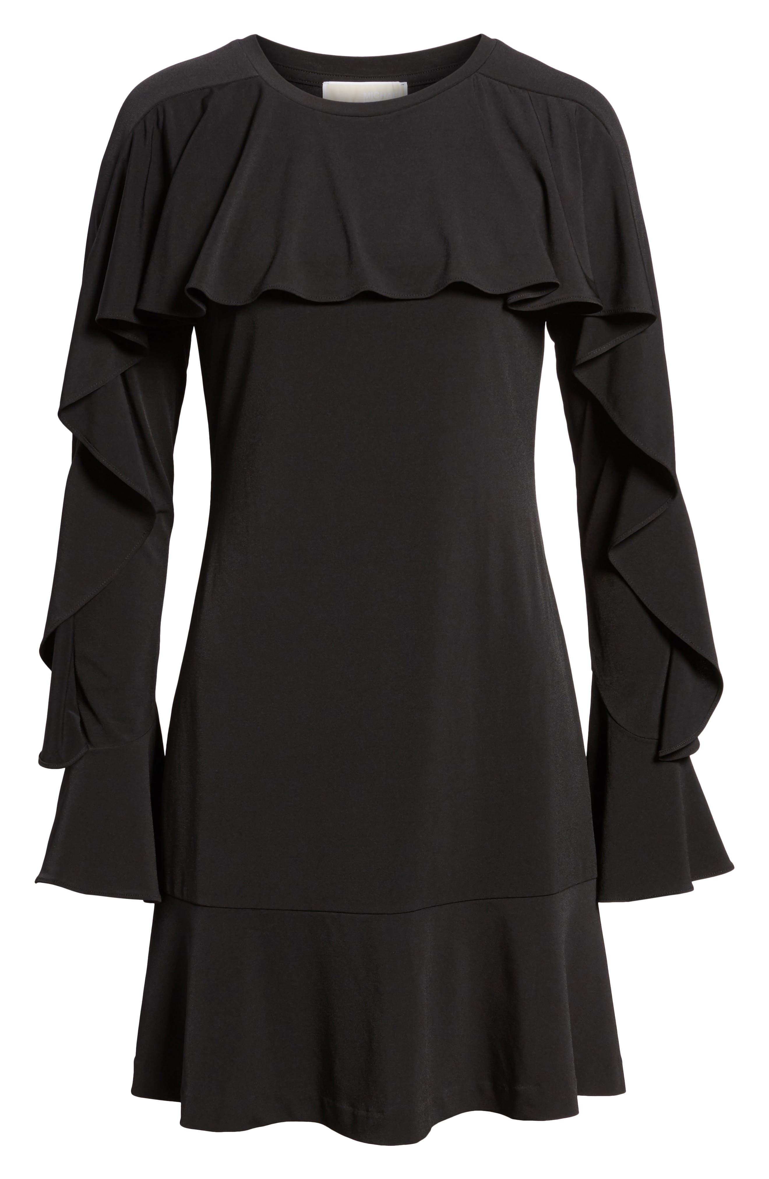Flounce Panel Long Sleeve Dress,                             Alternate thumbnail 6, color,                             001