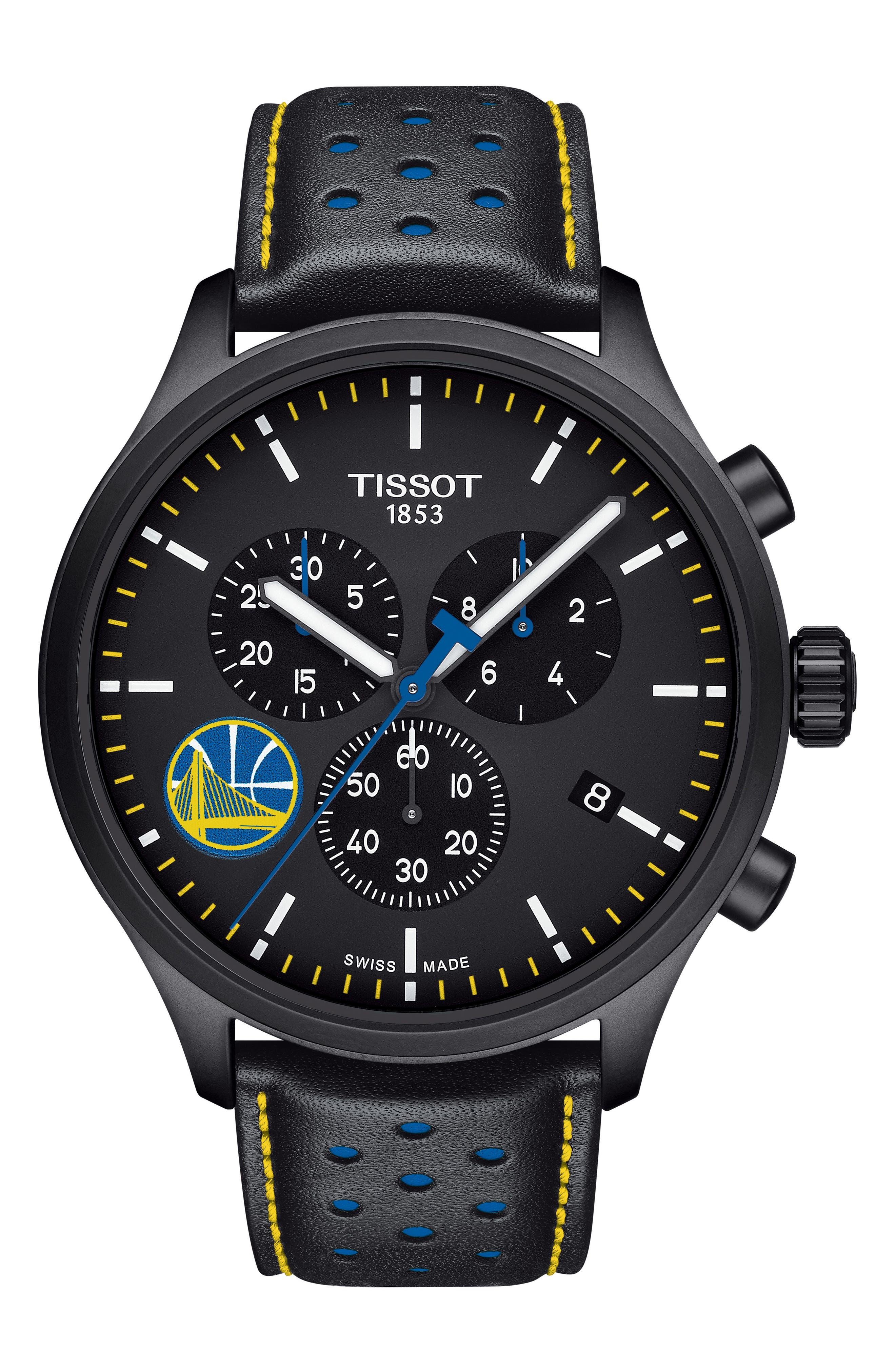 Chrono XL NBA Leather Strap Watch, 45mm,                             Main thumbnail 1, color,                             BLACK/ YELLOW/ BLUE