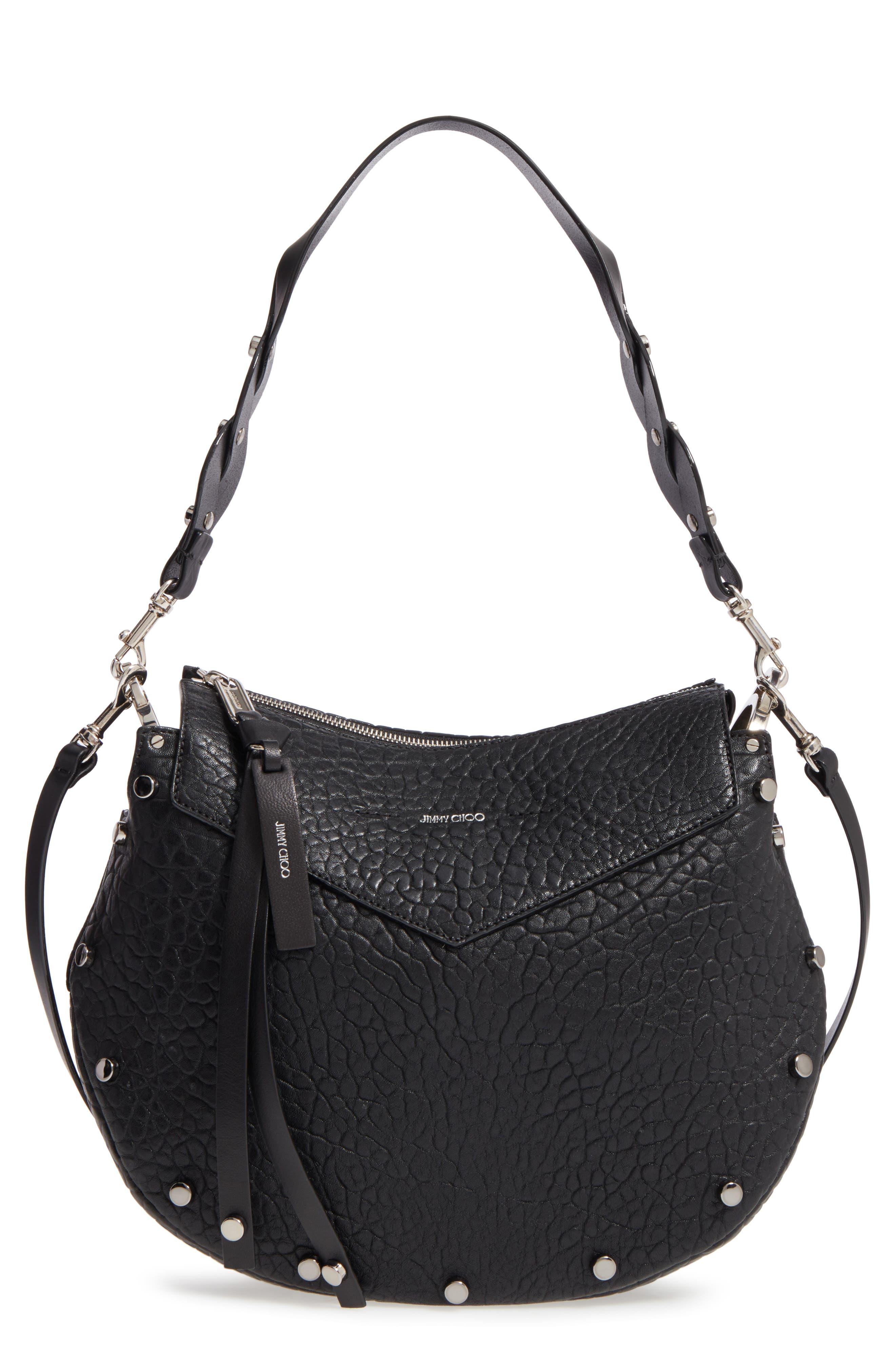 Artie Studded Leather Hobo Bag,                             Main thumbnail 1, color,                             001