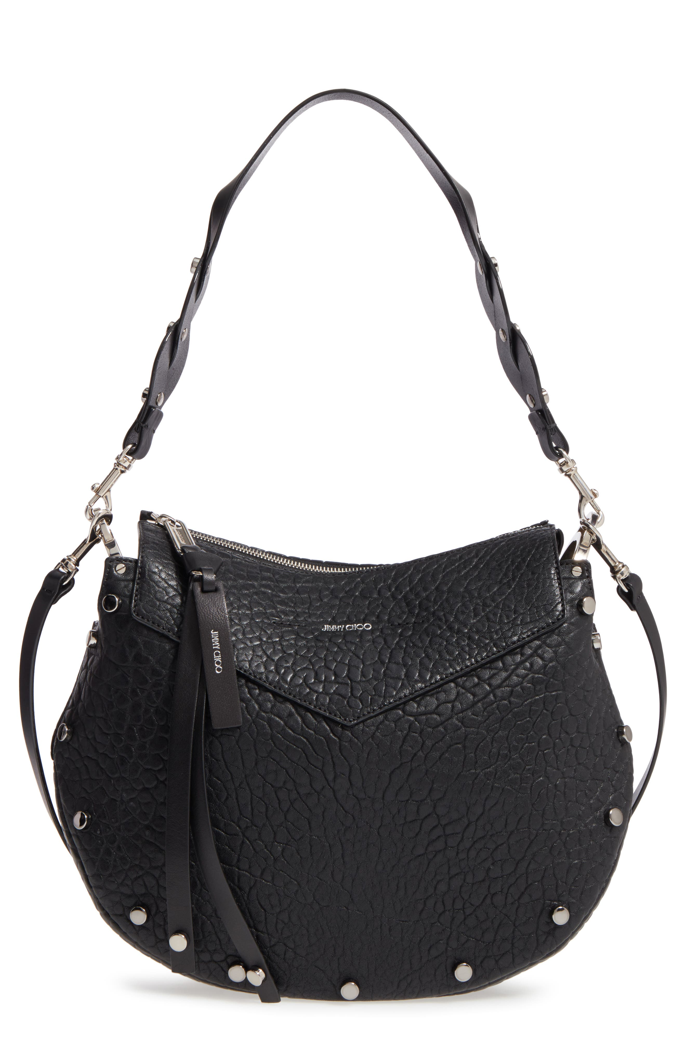 Artie Studded Leather Hobo Bag,                         Main,                         color, 001