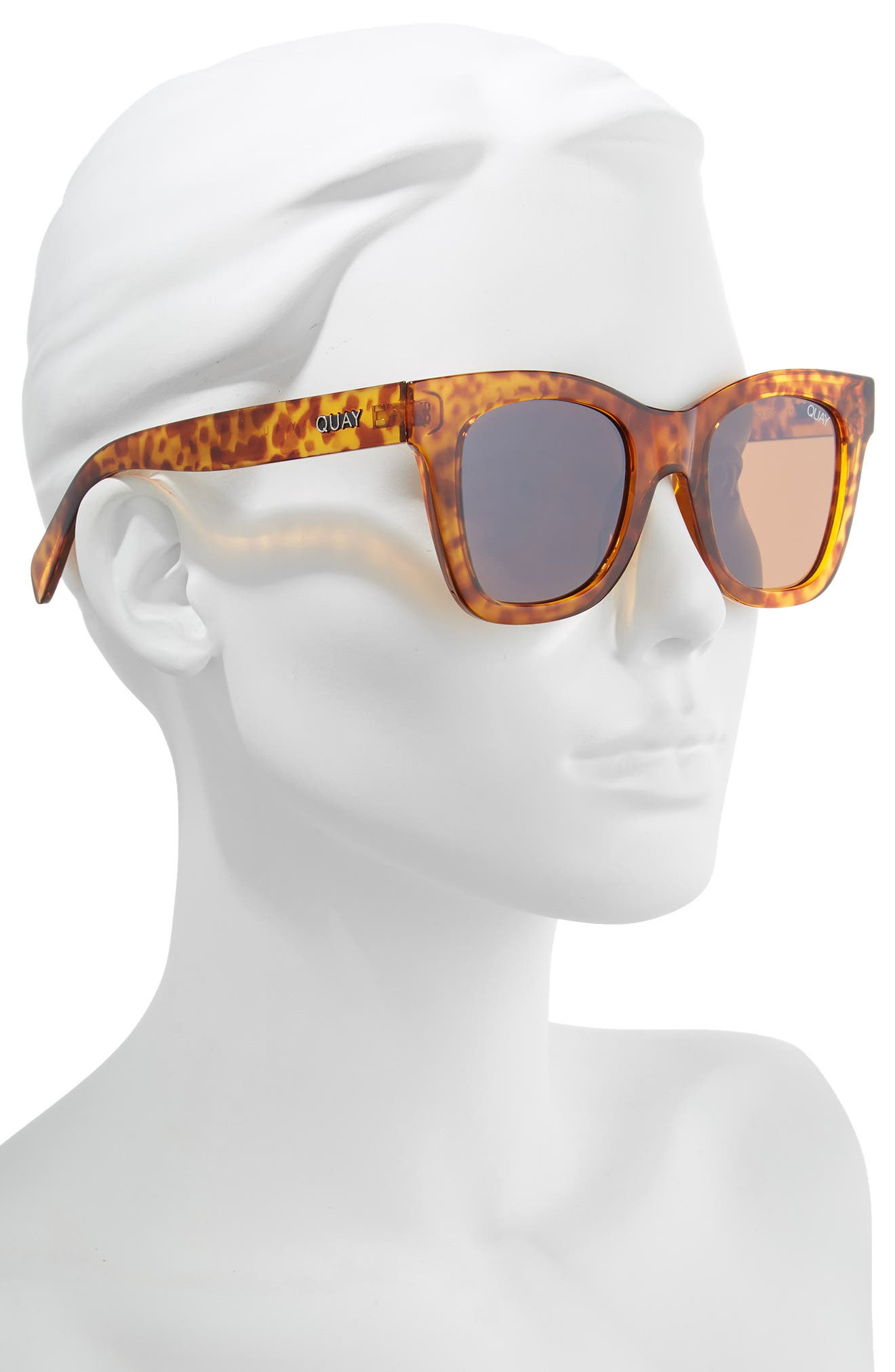 QUAY AUSTRALIA,                             After Hours 50mm Square Sunglasses,                             Alternate thumbnail 2, color,                             ORANGE TORT / BROWN