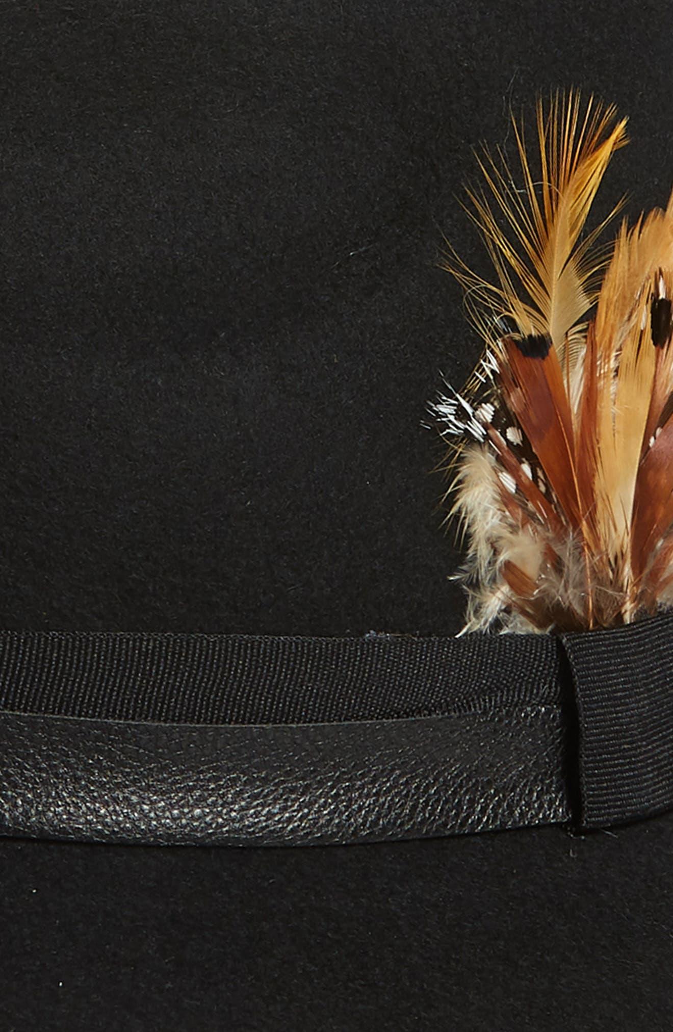 Feather Trim Panama Hat,                             Alternate thumbnail 2, color,                             BLACK