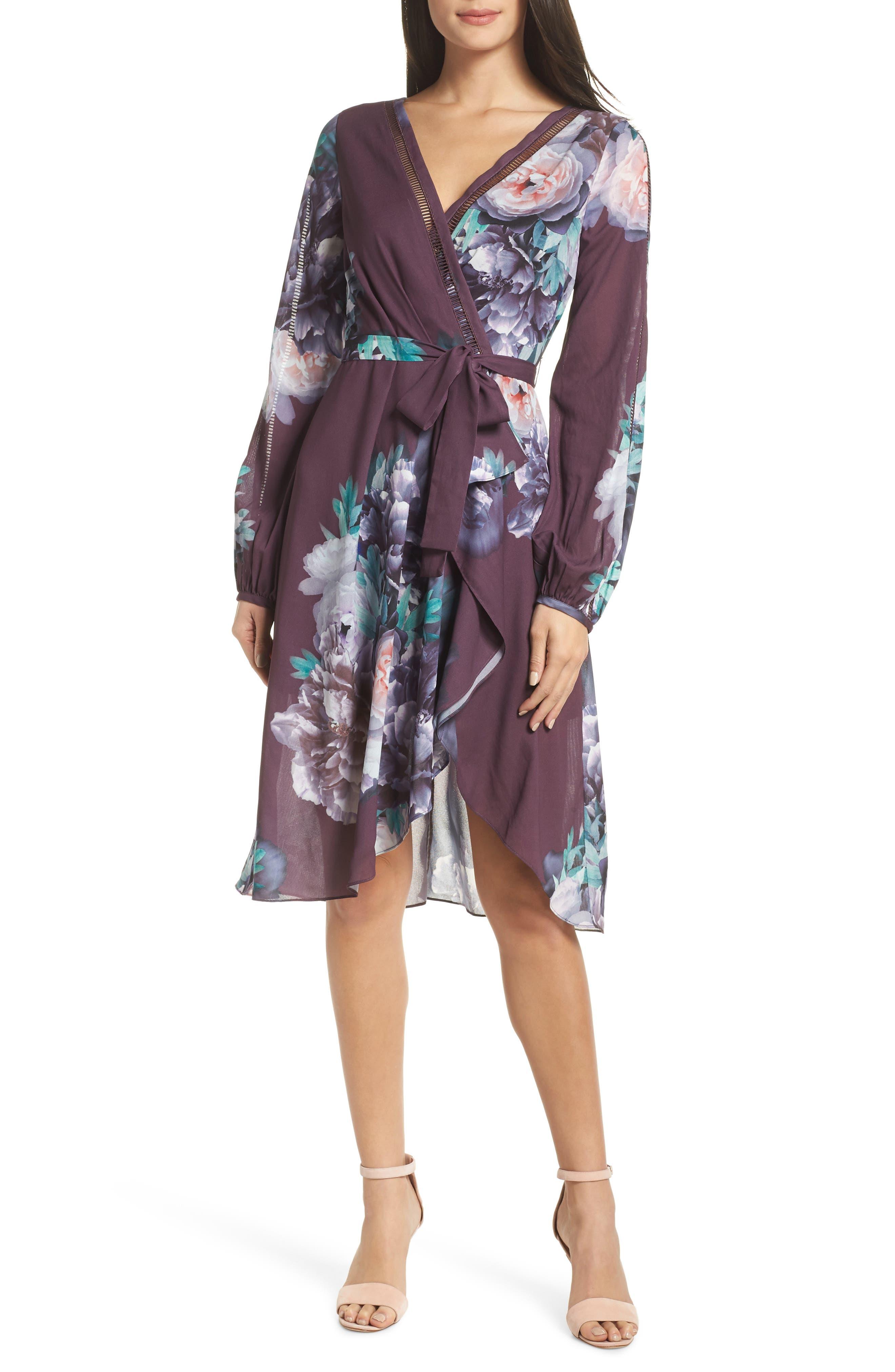 Chelsea28 Floral Print Faux Wrap Dress, Purple