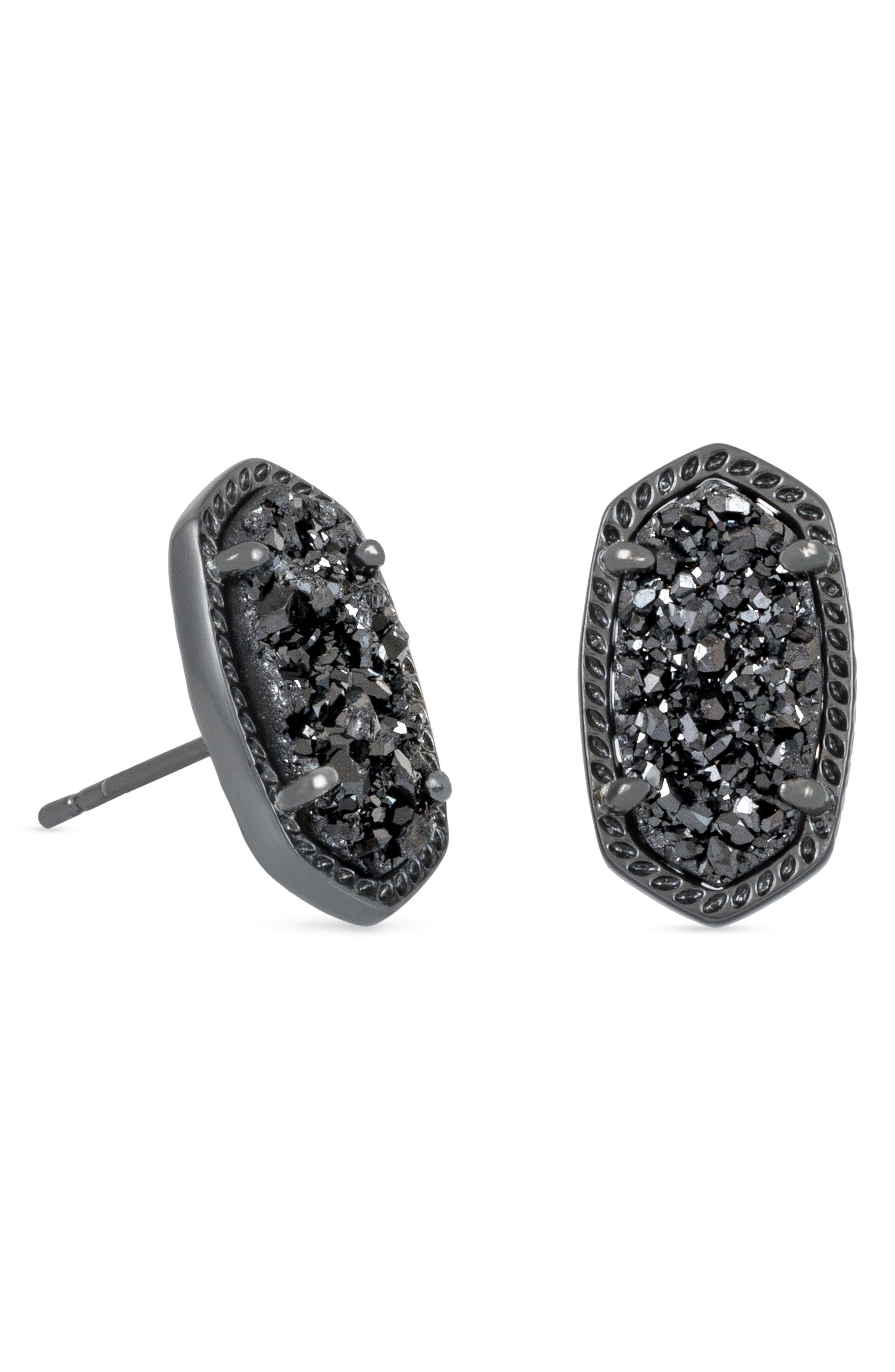 Ellie Oval Stone Stud Earrings,                             Alternate thumbnail 3, color,                             002