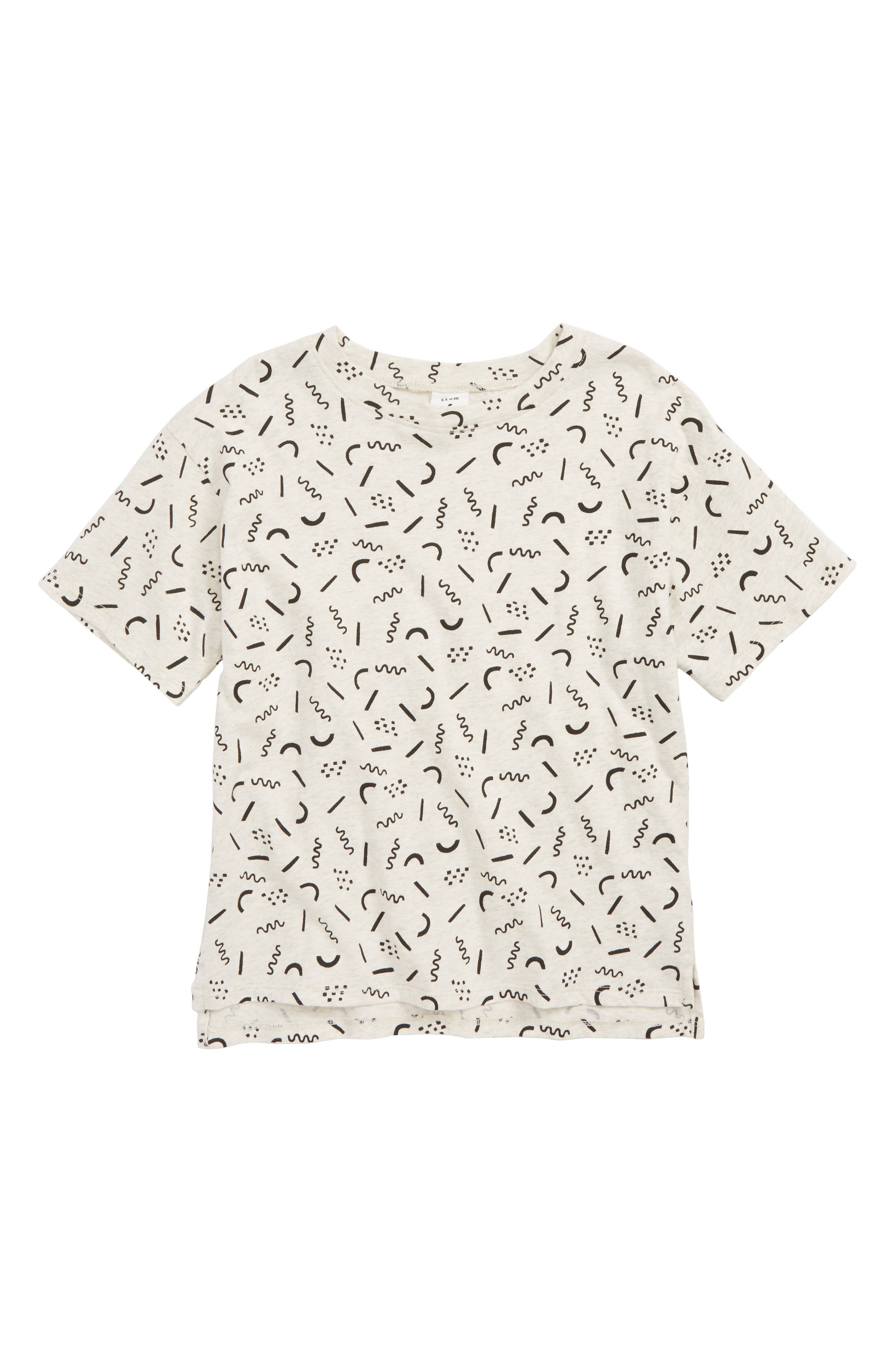 Print Drop Hem T-Shirt,                             Main thumbnail 1, color,                             BEIGE OTML HTR TWIRLY DOODLES