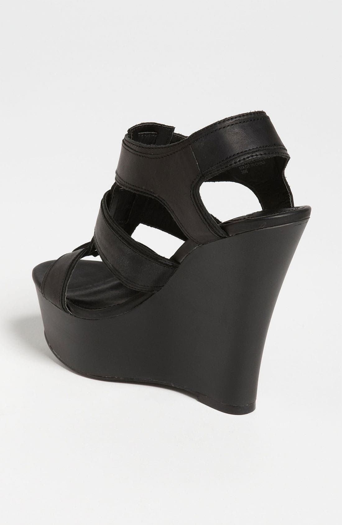 STEVE MADDEN,                             'Wanting' Wedge Sandal,                             Alternate thumbnail 3, color,                             001