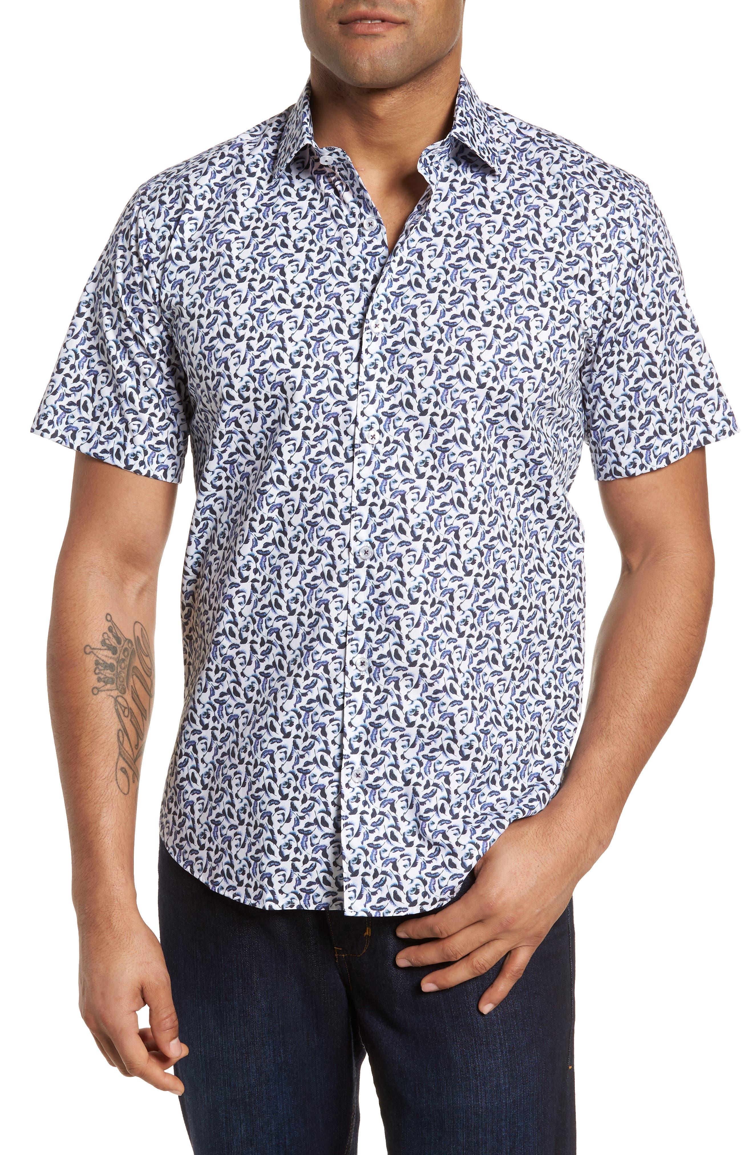 Slim Fit Feather Print Sport Shirt,                         Main,                         color, 999