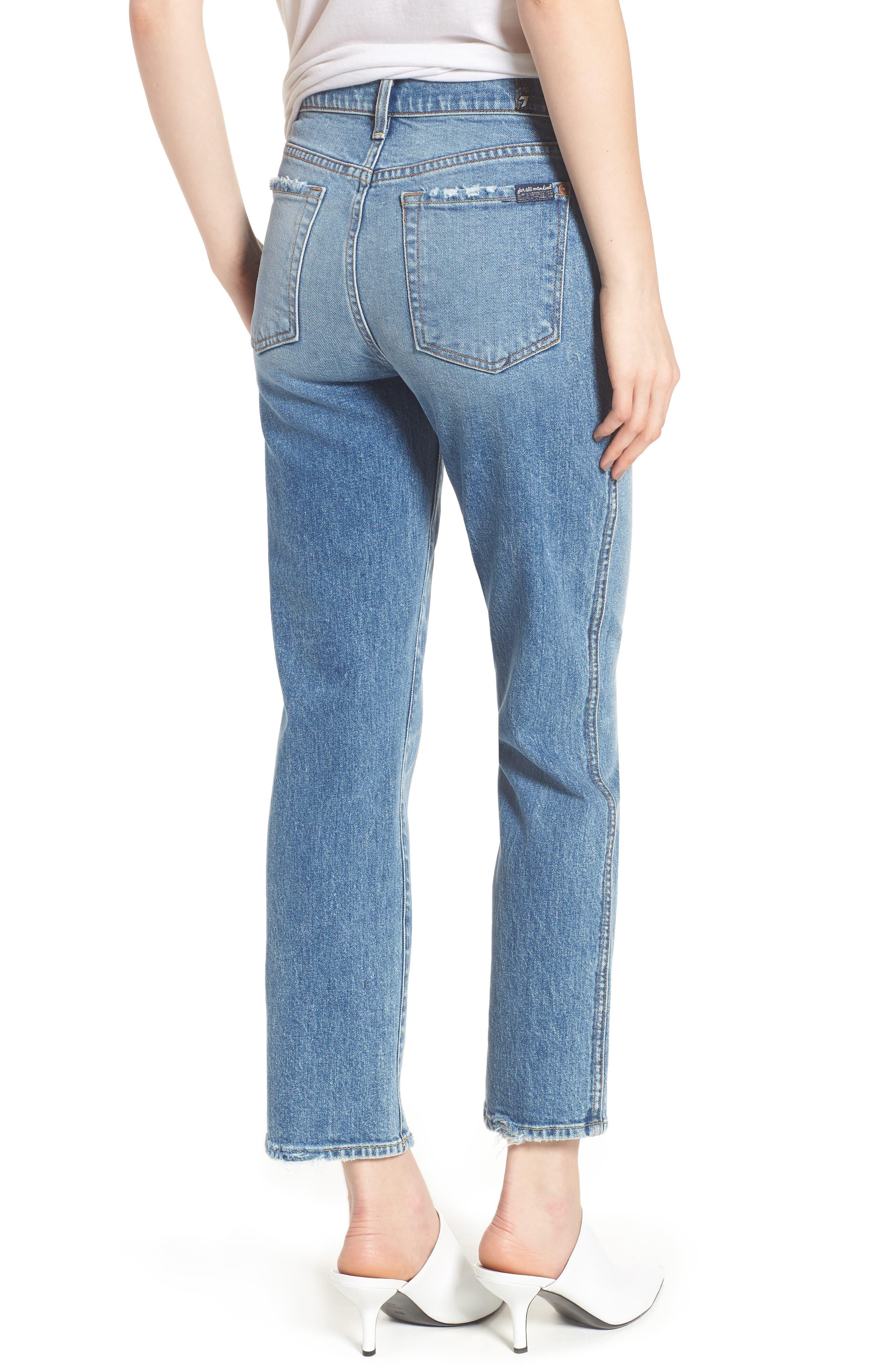 Edie High Waist Crop Straight Leg Jeans,                             Alternate thumbnail 11, color,