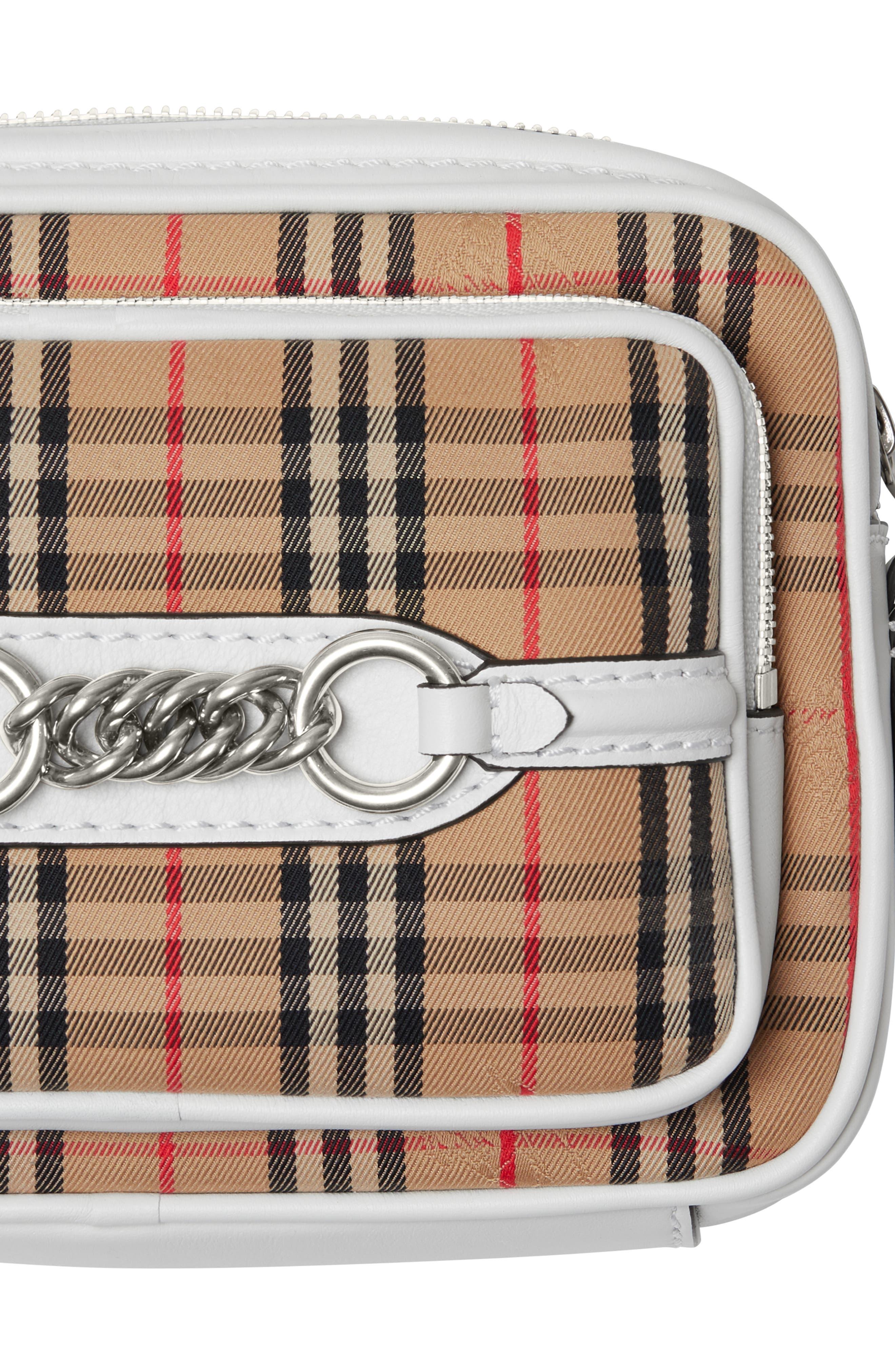 Vintage Check Link Crossbody Camera Bag,                             Alternate thumbnail 6, color,                             CHALK WHITE