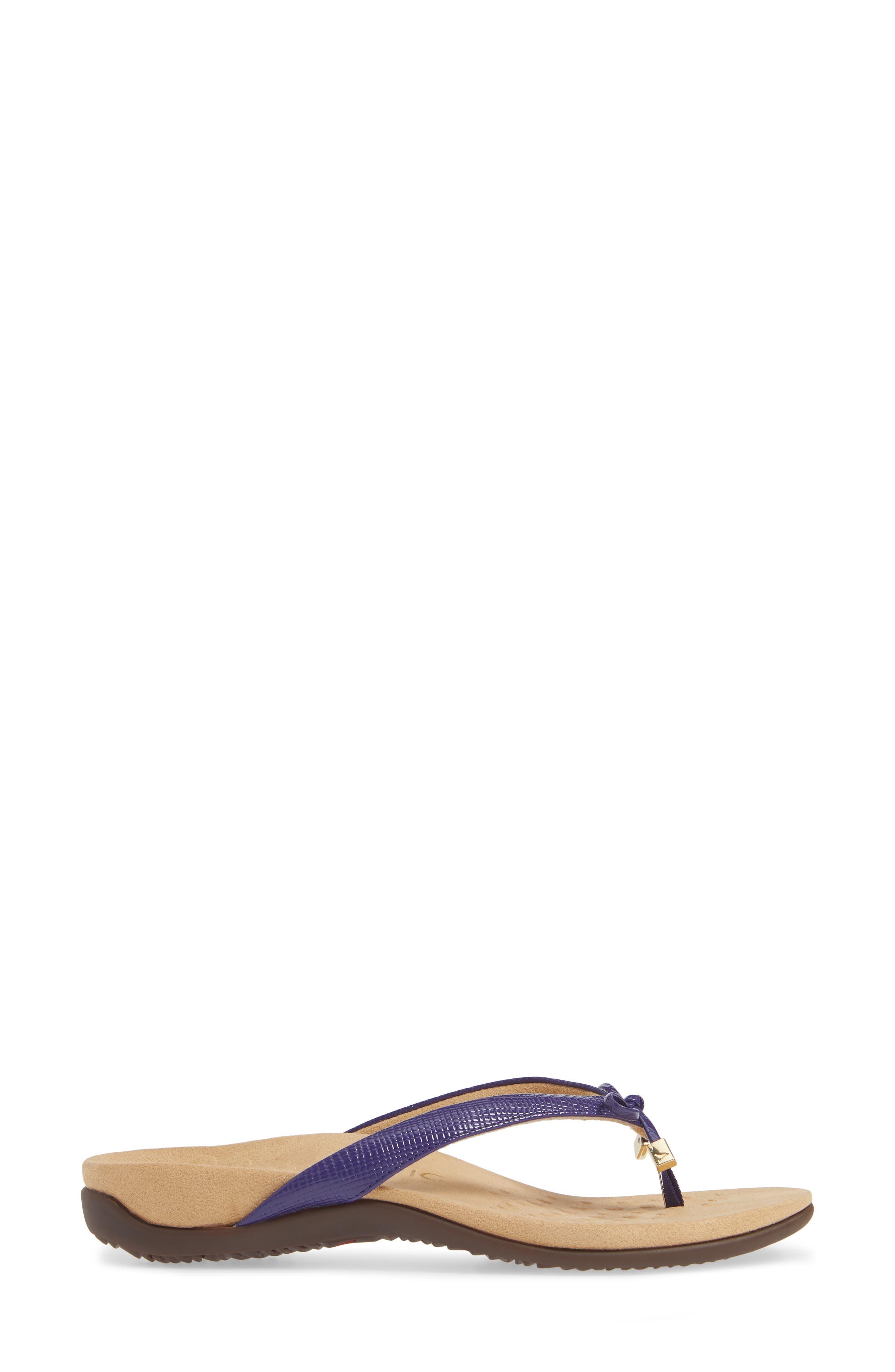 Bella Flip Flop,                             Alternate thumbnail 3, color,                             PURPLE FAUX LEATHER