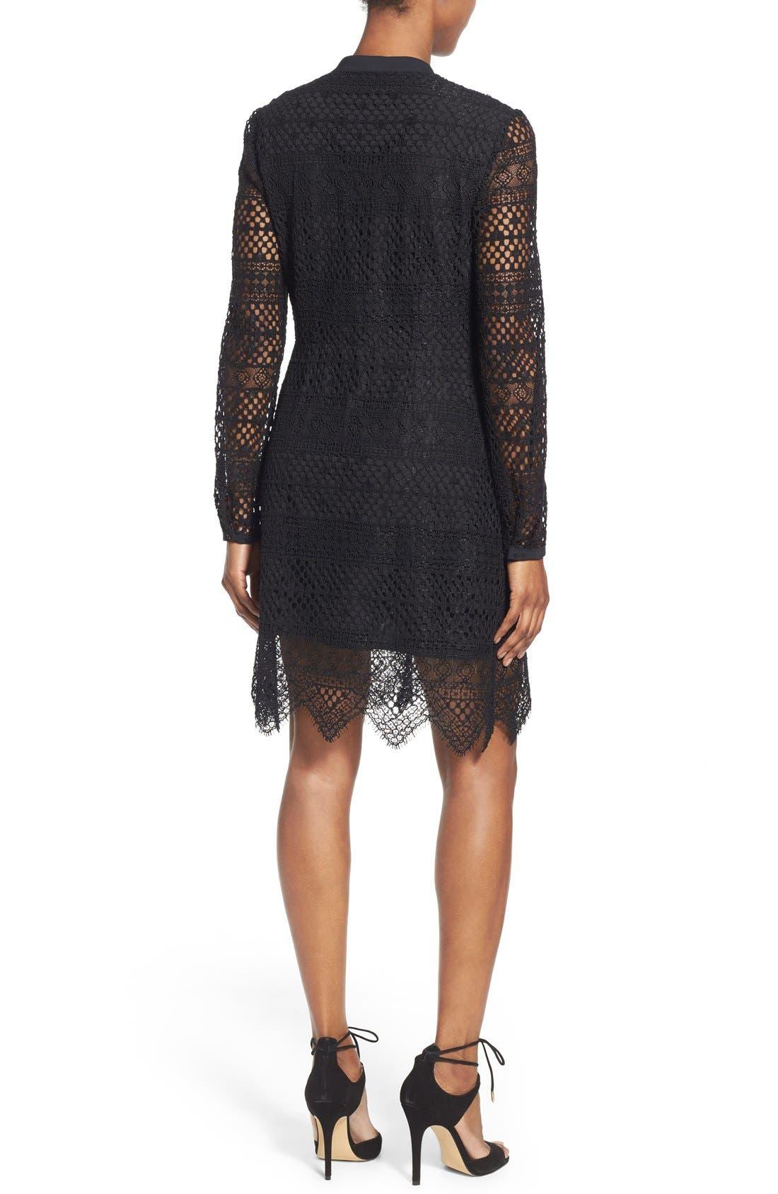 TAHARI,                             Elie Tahari 'Whitney' Split Neck Lace Sheath Dress,                             Alternate thumbnail 3, color,                             001