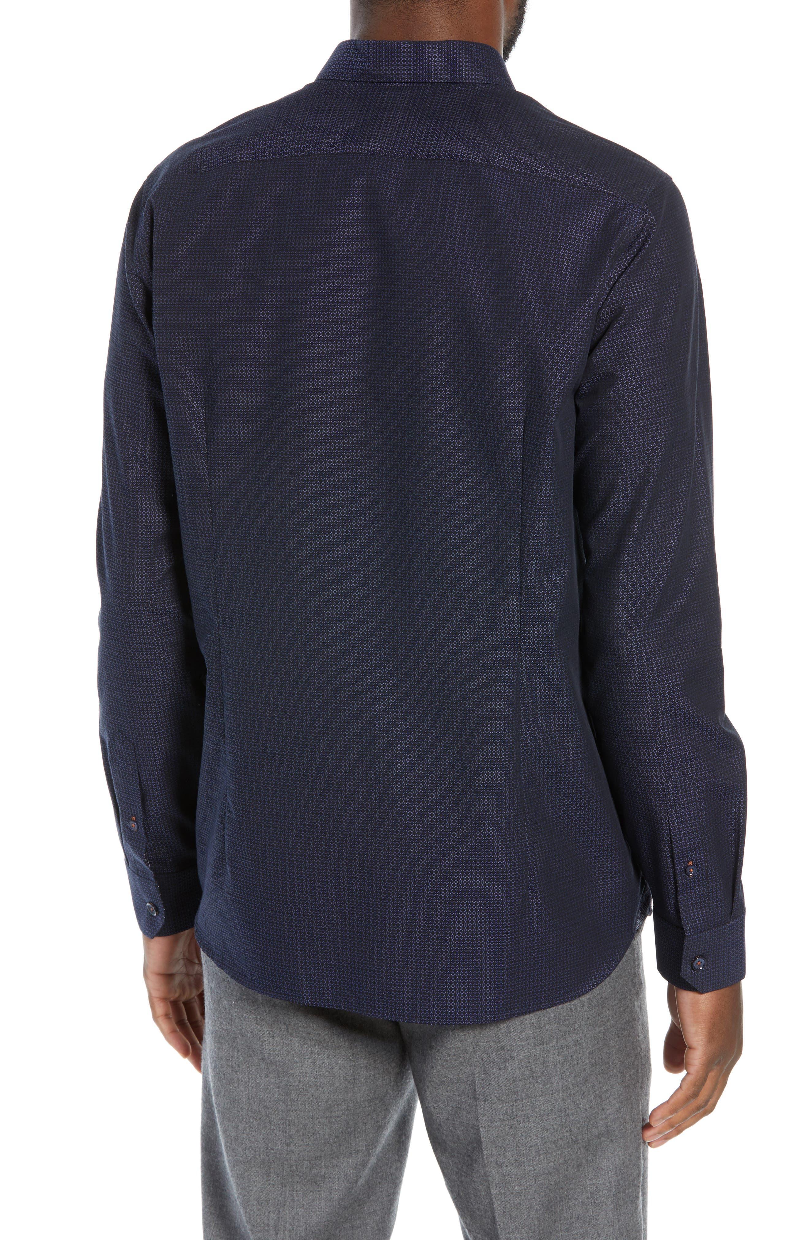 Myll Slim Fit Jacquard Sport Shirt,                             Alternate thumbnail 3, color,                             NAVY