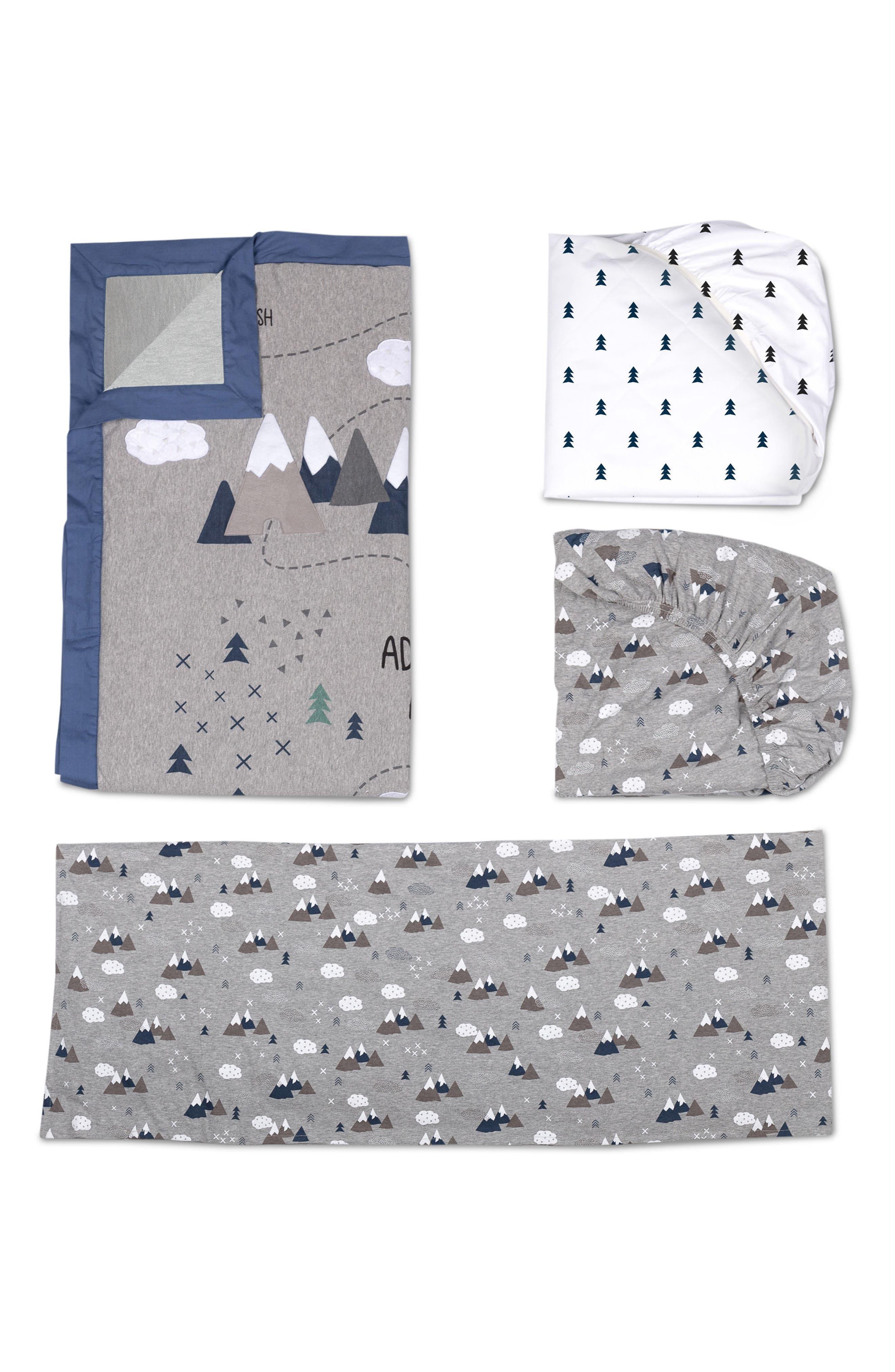 LIVING TEXTILES,                             Peaks 4-Piece Crib Bedding Set,                             Main thumbnail 1, color,                             PEAKS