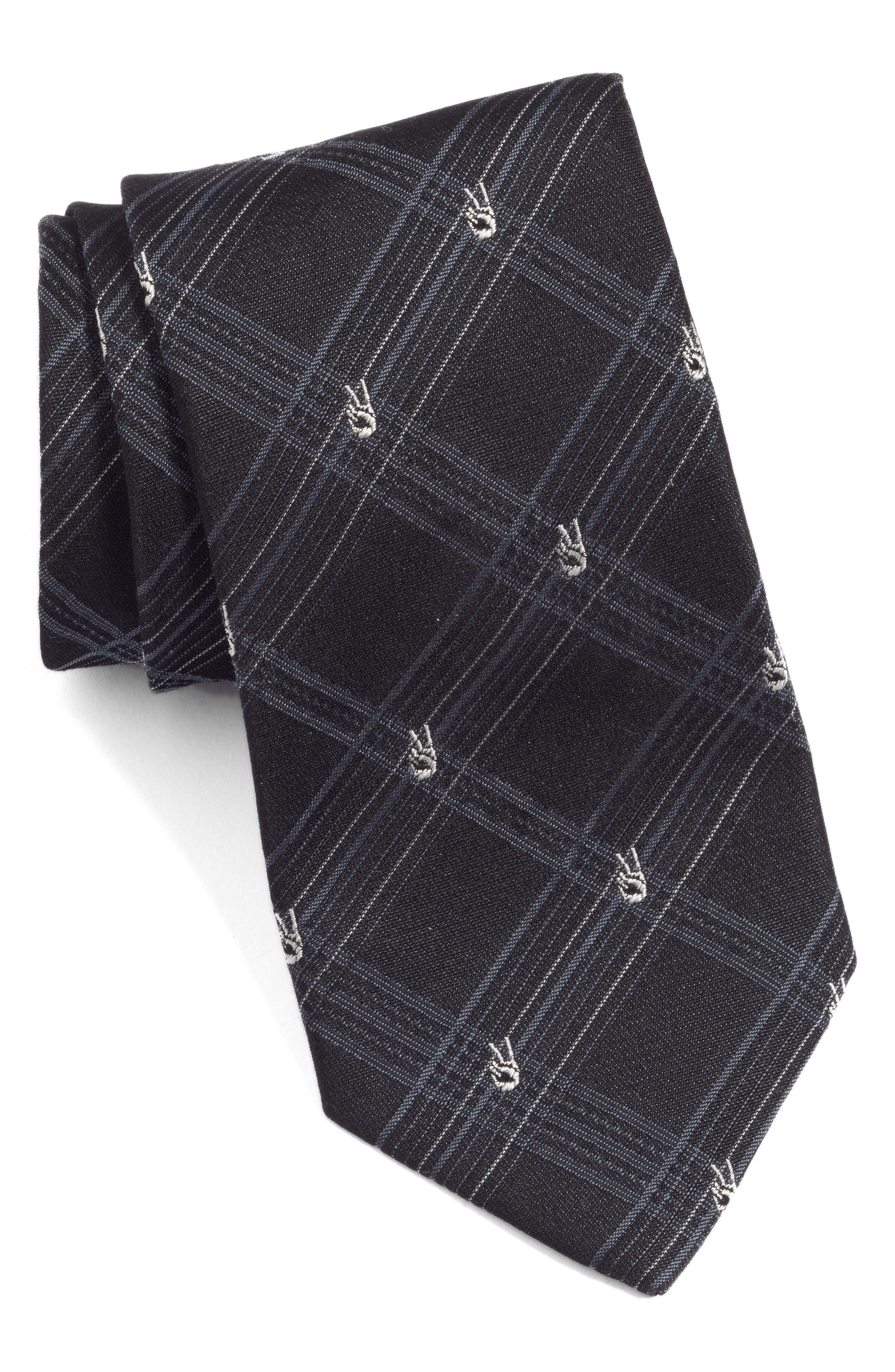Peace Sign Plaid Silk Tie,                         Main,                         color, NAVY