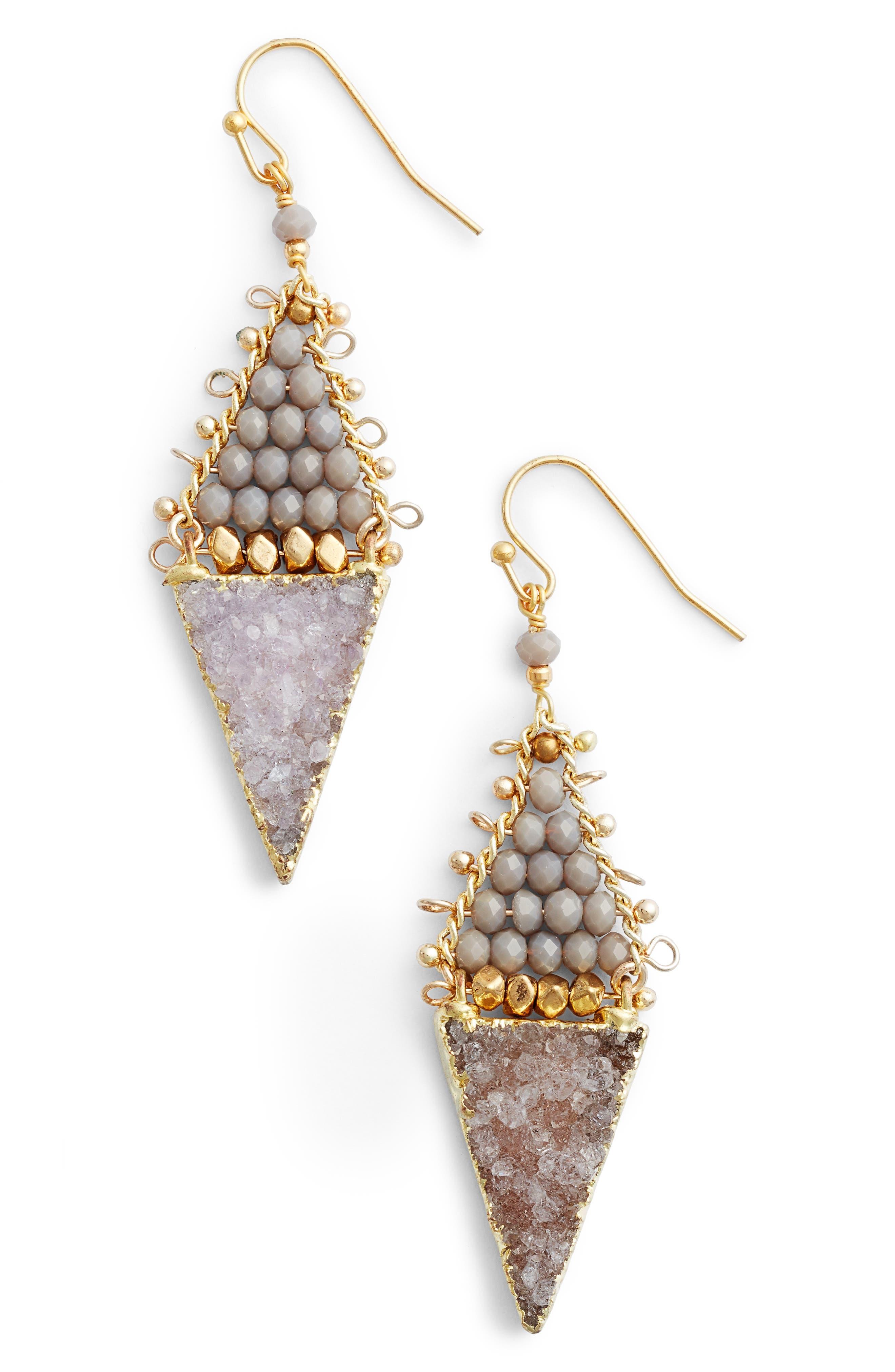 Drusy Drop Earrings,                         Main,                         color, 020