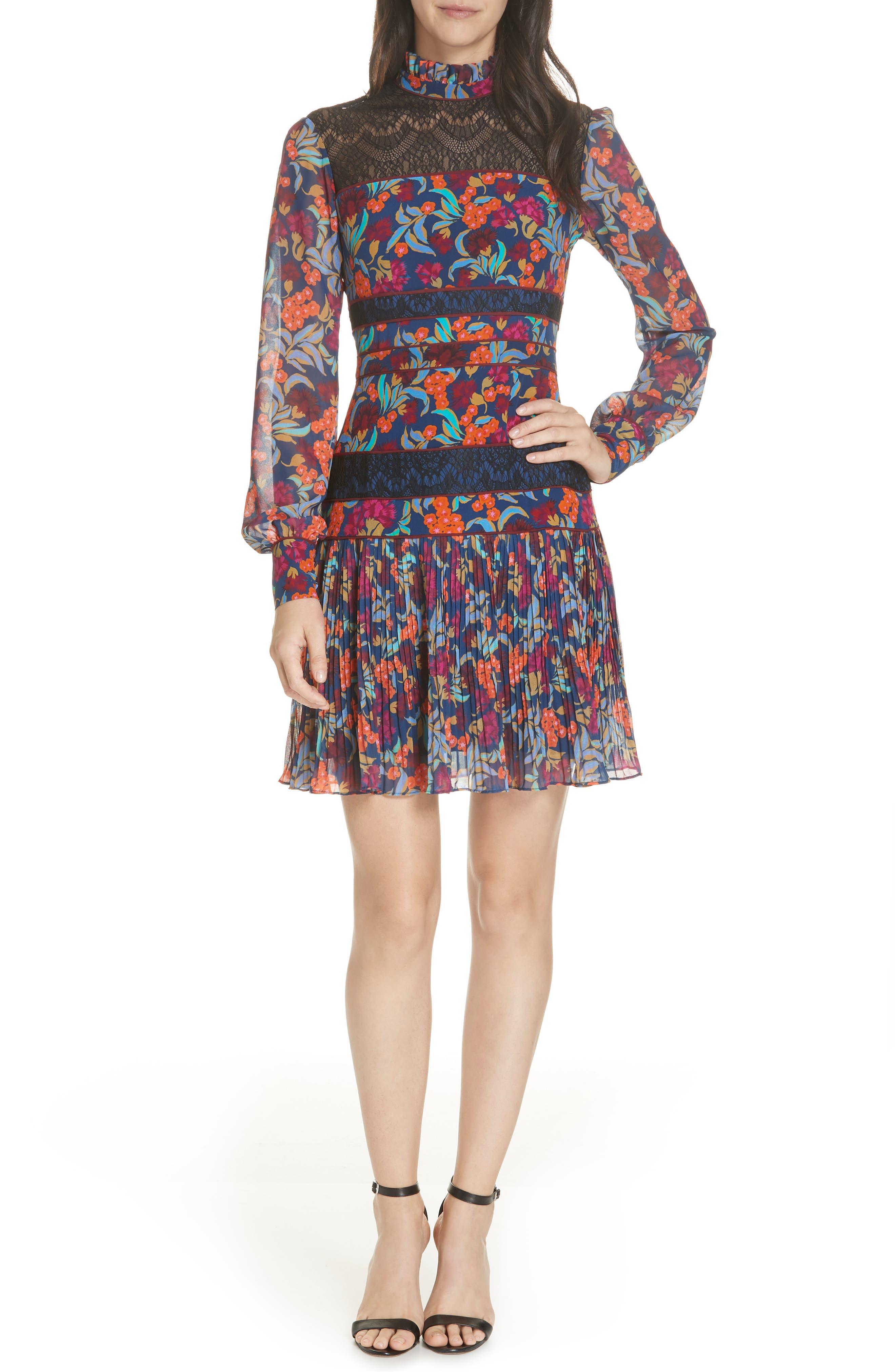 Dina Lace Inset Floral Print Dress,                             Main thumbnail 1, color,                             TROPICAL HYDRANGEA