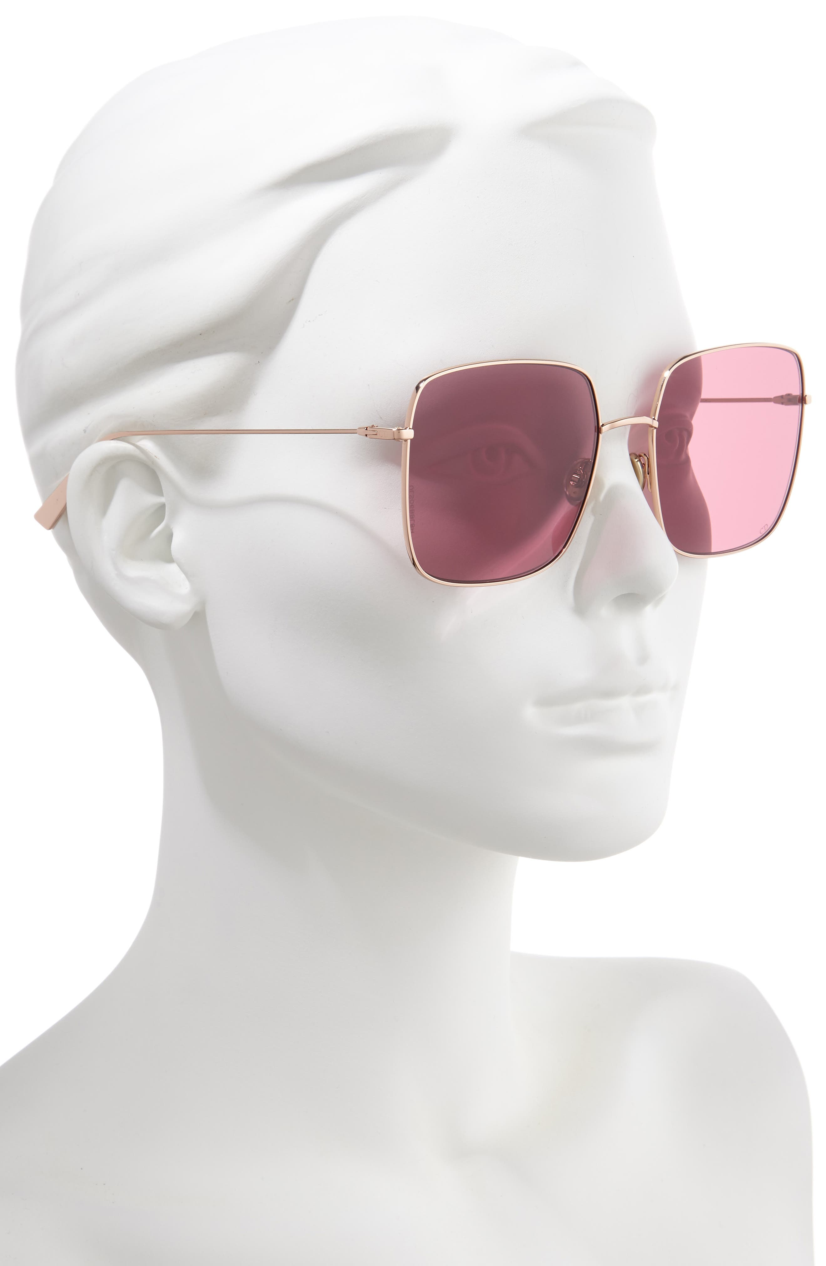 Stellaire 59mm Square Sunglasses,                             Alternate thumbnail 2, color,                             GOLD/ WINE