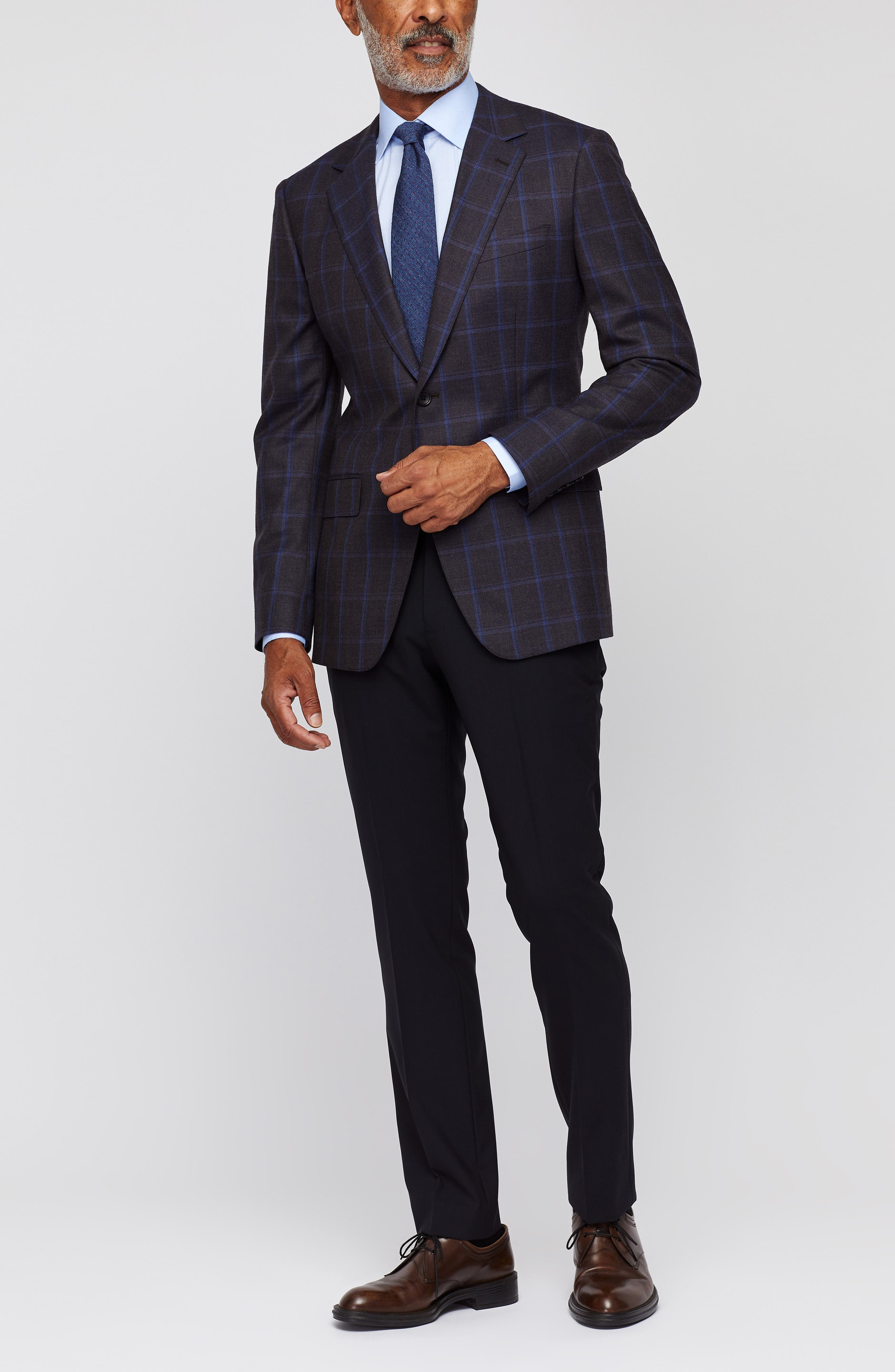 Jetsetter Stretch Wool Blazer,                             Alternate thumbnail 3, color,                             BLUE AND SLATE WINDOWPANE