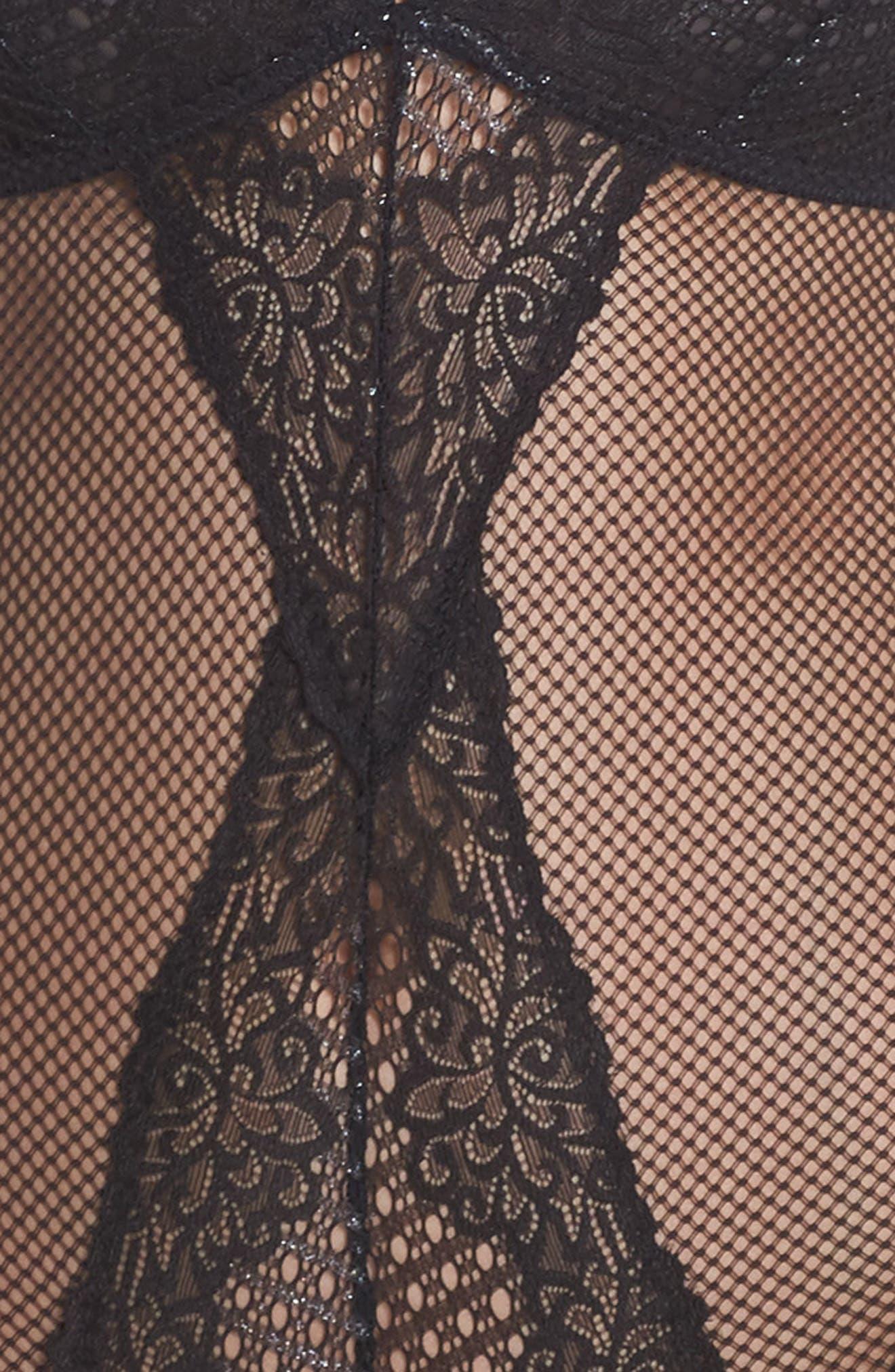Lace & Mesh Bodysuit,                             Alternate thumbnail 6, color,                             001