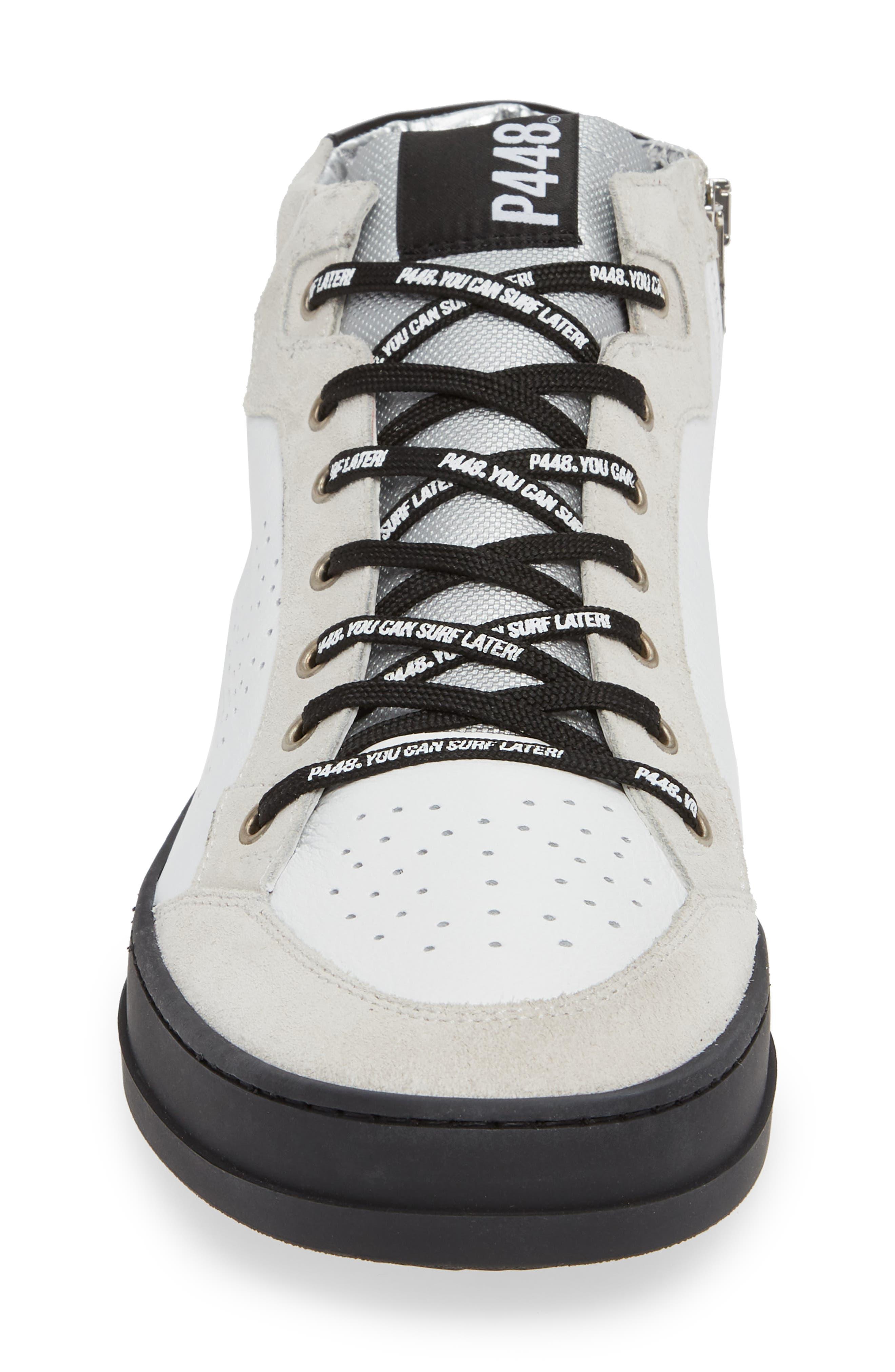 A8Love Mid Top Sneaker,                             Alternate thumbnail 4, color,                             WHITE/ BLACK