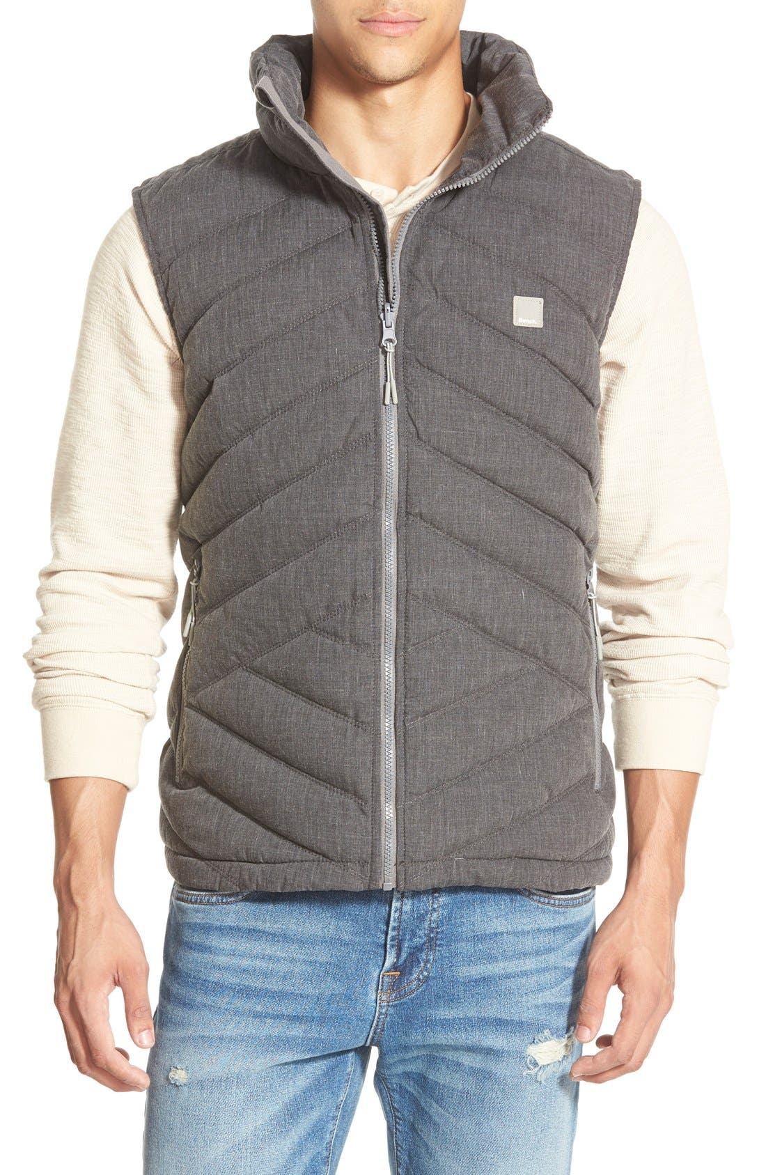 BENCH.,                             Bench Regular Fit Quilted Vest,                             Main thumbnail 1, color,                             001
