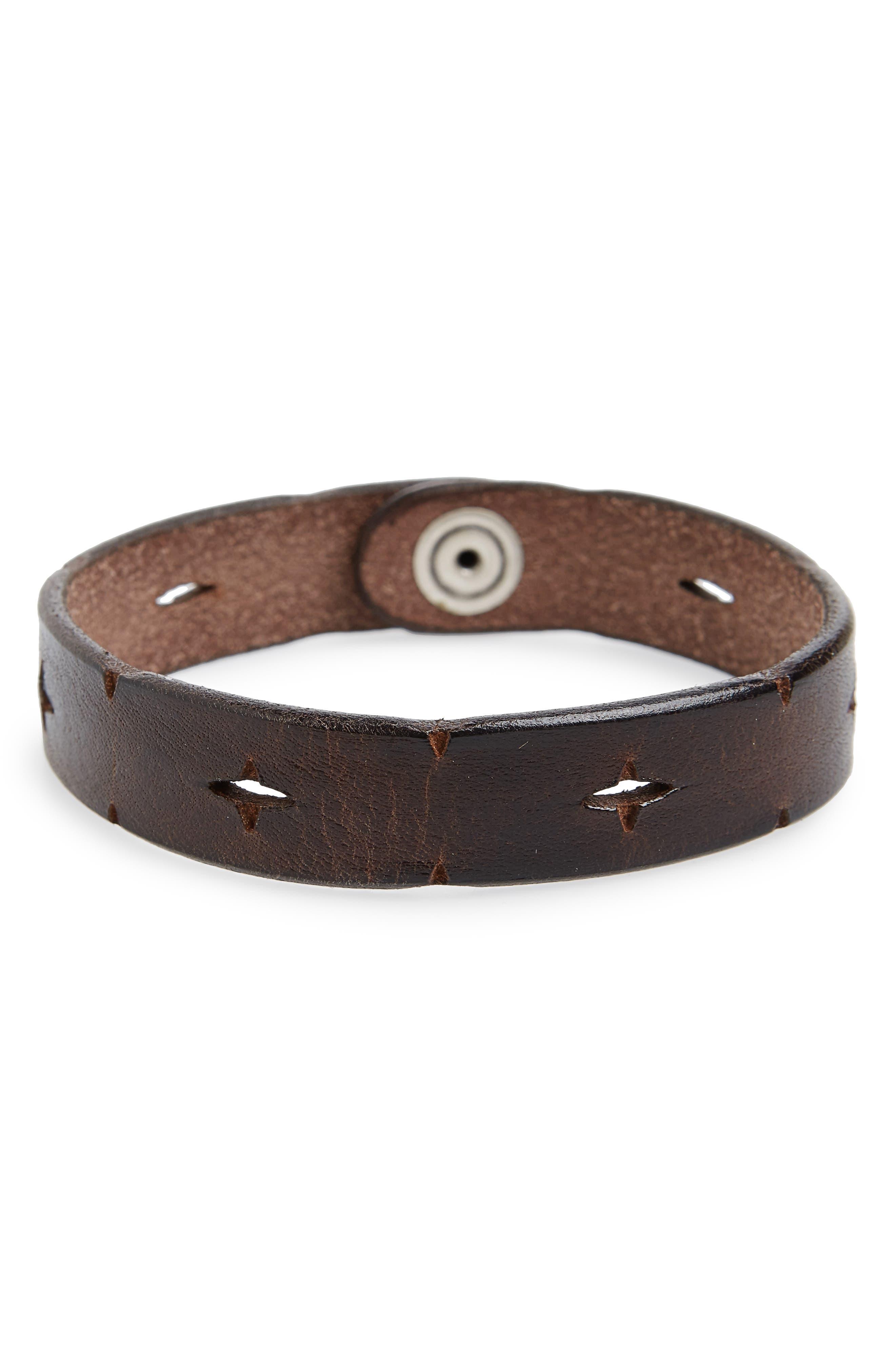Wax Leather Bracelet,                         Main,                         color, 200