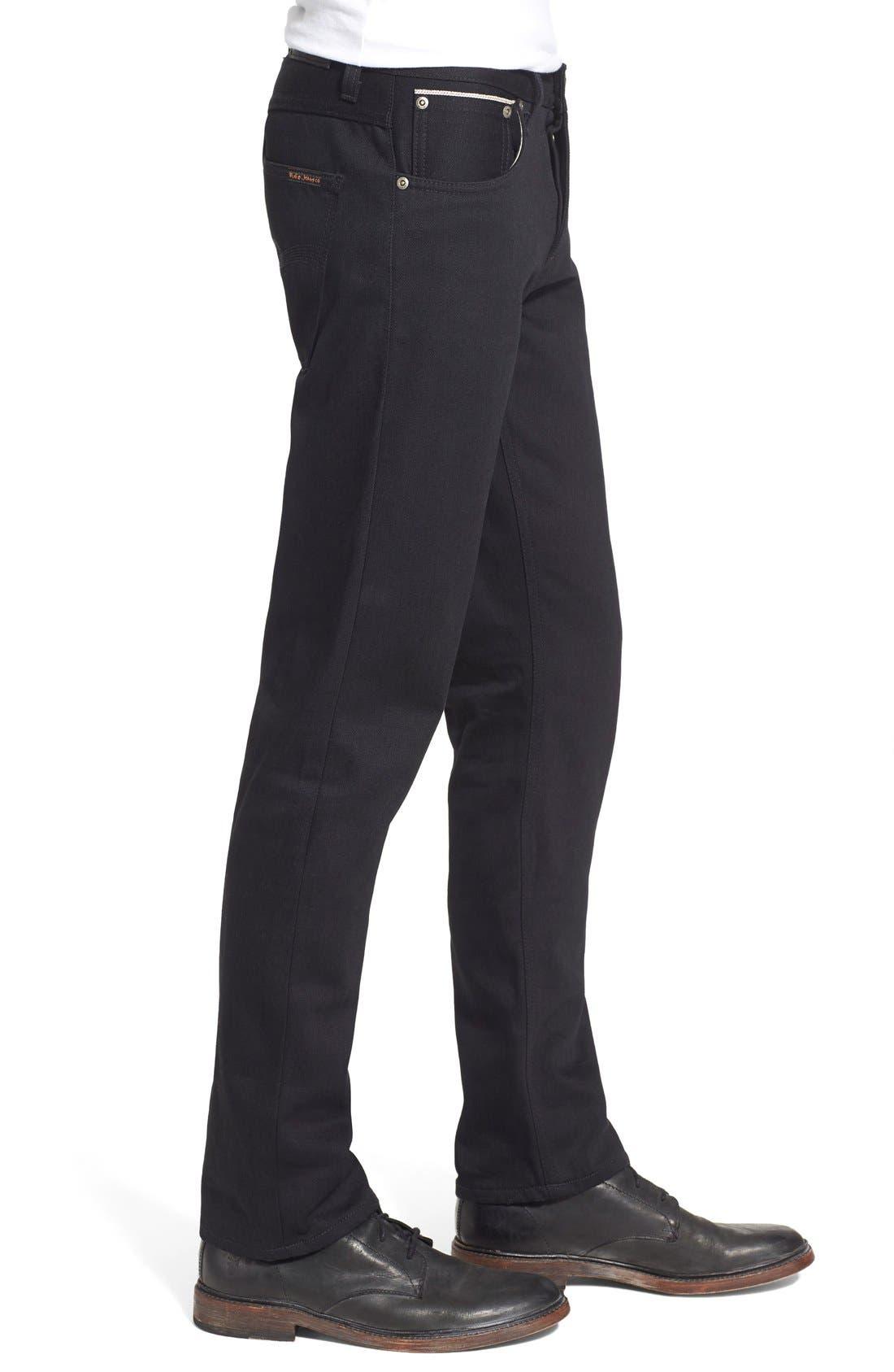 NUDIE JEANS,                             'Grim Tim' Slim Fit Raw Selvedge Jeans,                             Alternate thumbnail 4, color,                             001