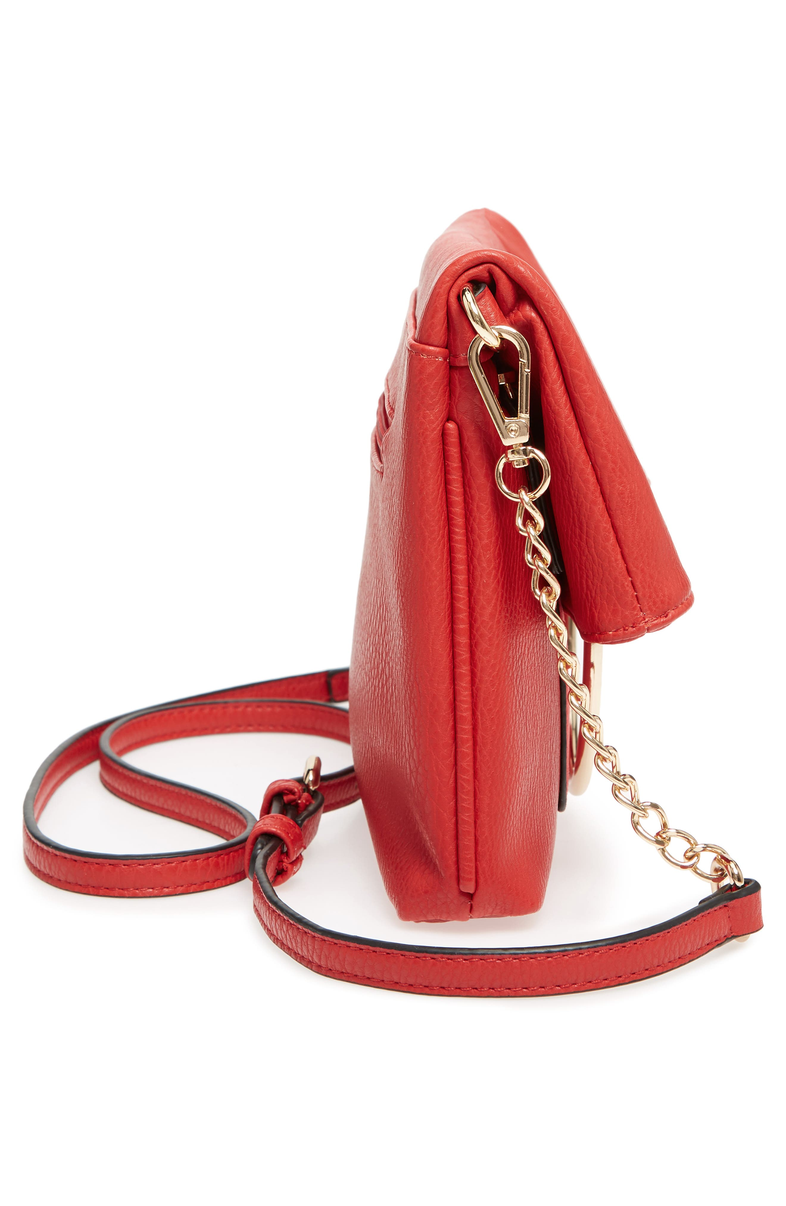 Foldover Ring Clutch,                             Alternate thumbnail 5, color,                             RED