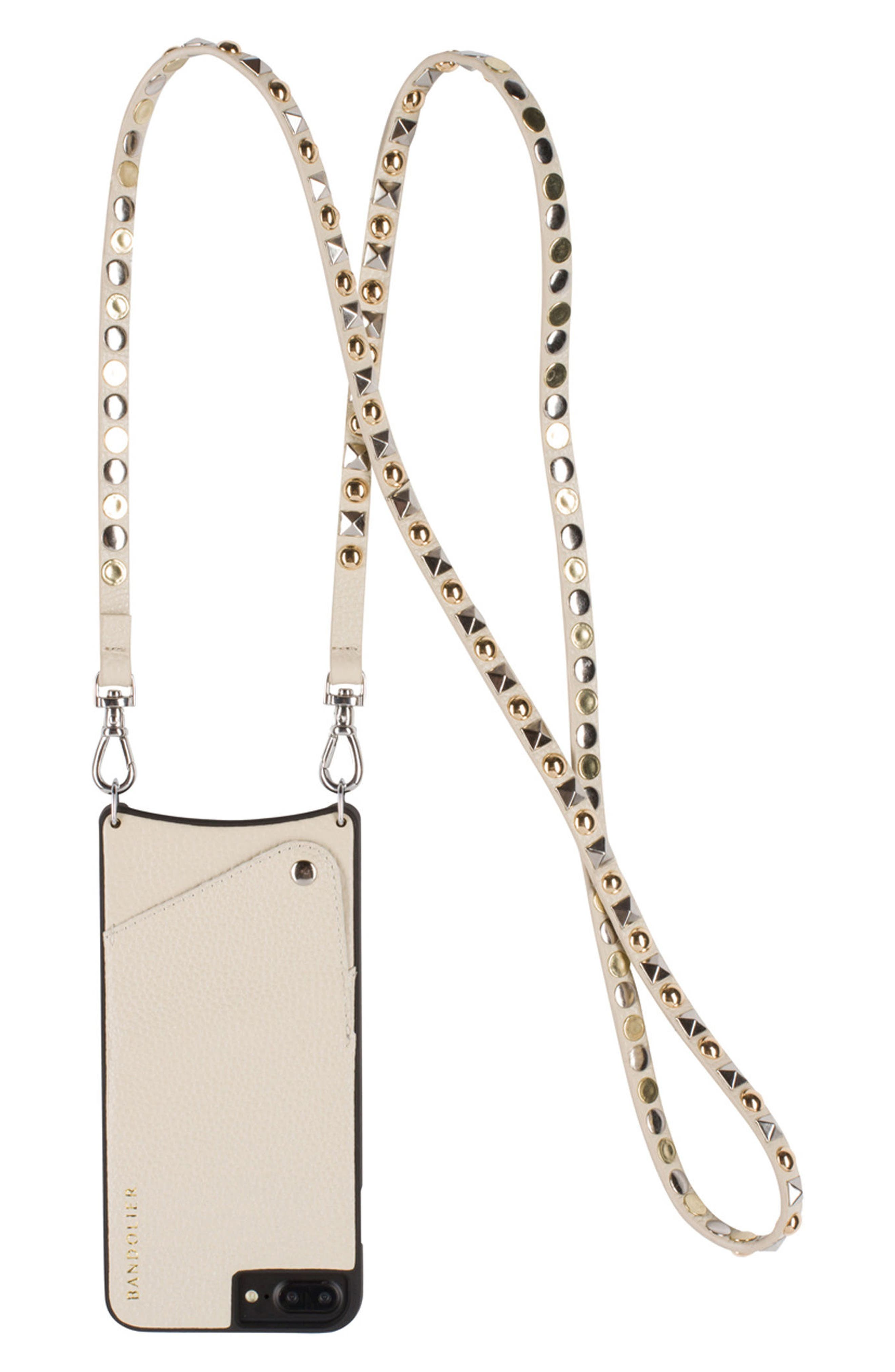 Sarah Metallic Faux Snakeskin iPhone 6/7/8 & 6/7/8 Plus Crossbody Case,                             Alternate thumbnail 3, color,                             PEWTER/ SILVER