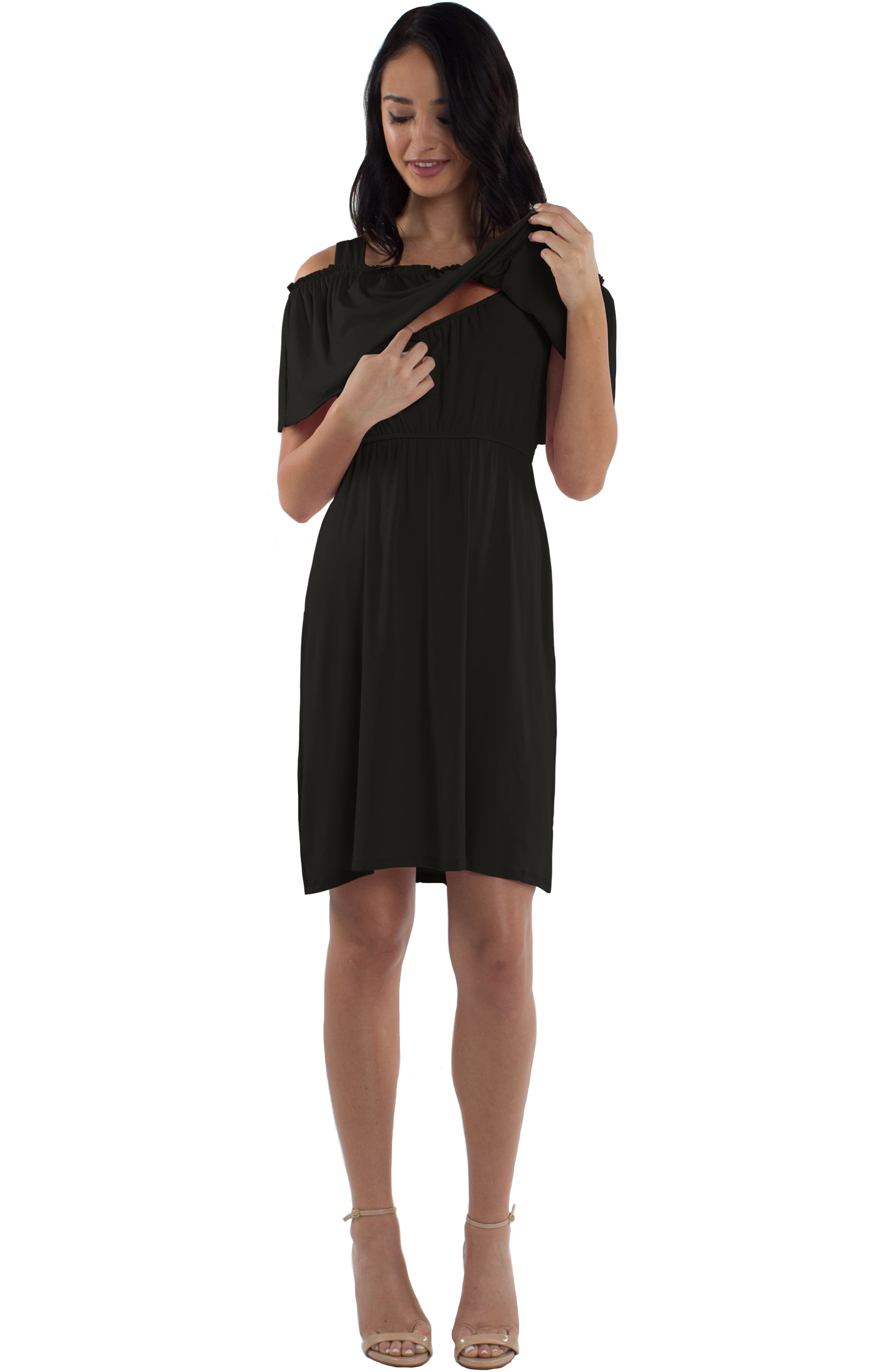 Reagan Nursing Dress,                             Alternate thumbnail 5, color,                             BLACK