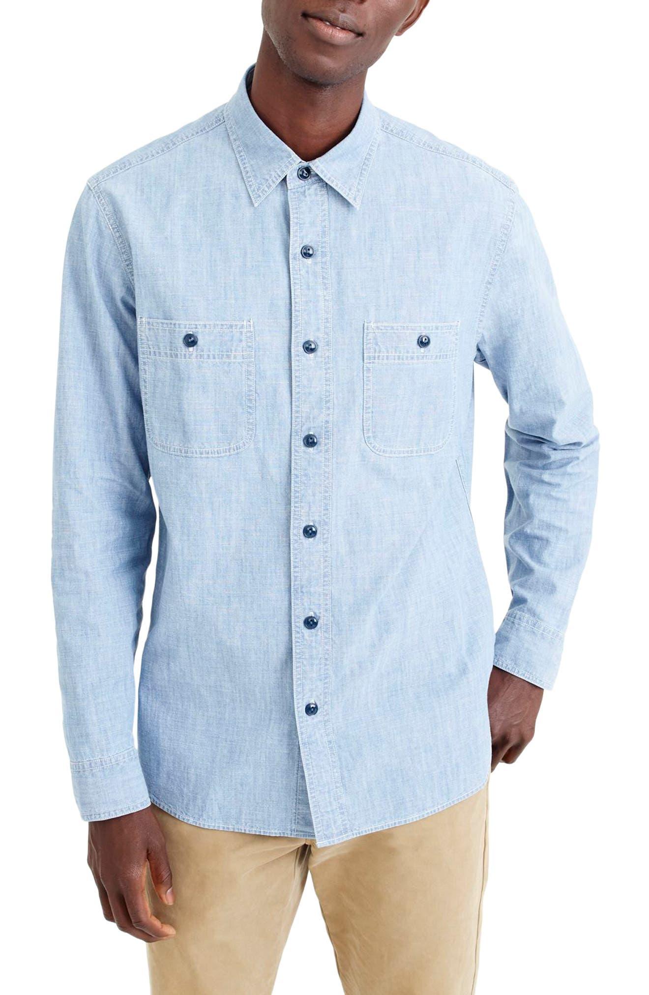 Wallace & Barnes Chambray Work Shirt,                         Main,                         color, 409