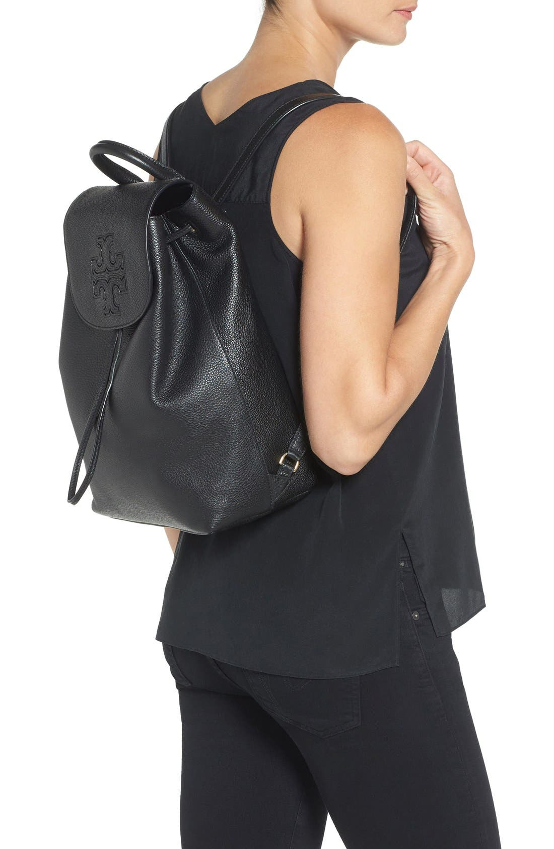TORY BURCH,                             'Harper' Leather Backpack,                             Alternate thumbnail 2, color,                             012