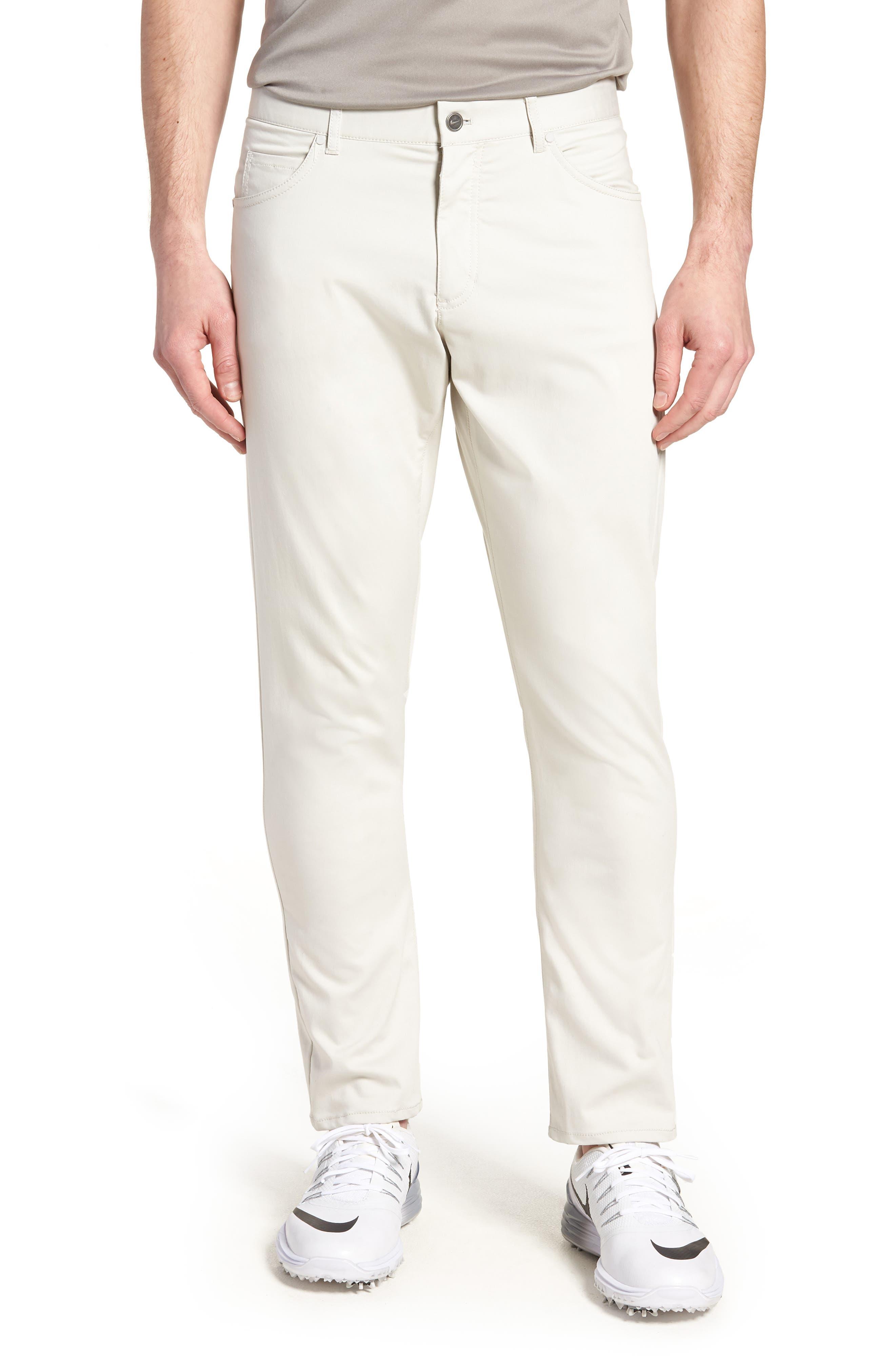 Dry Flex Slim Fit Golf Pants,                             Main thumbnail 1, color,                             LIGHT BONE/ WHITE