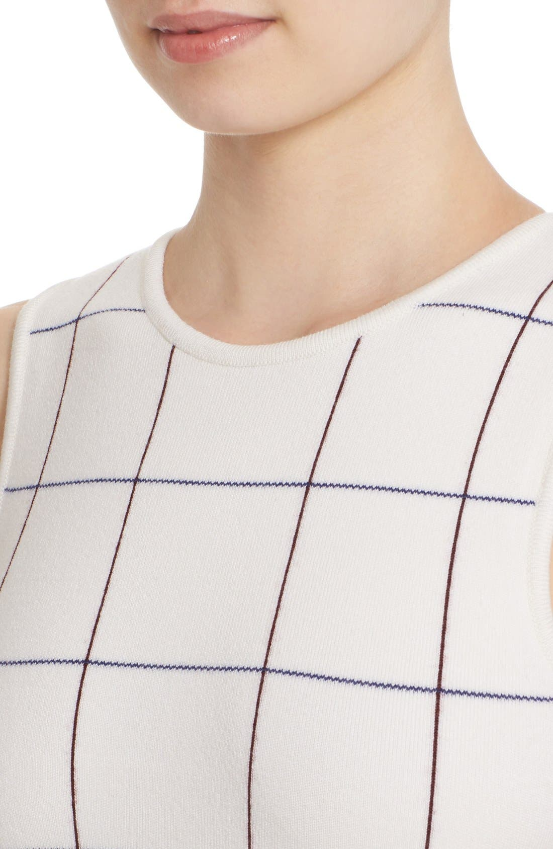 Victoria Beckham Intarsia Check Sheath Dress,                             Alternate thumbnail 5, color,                             100