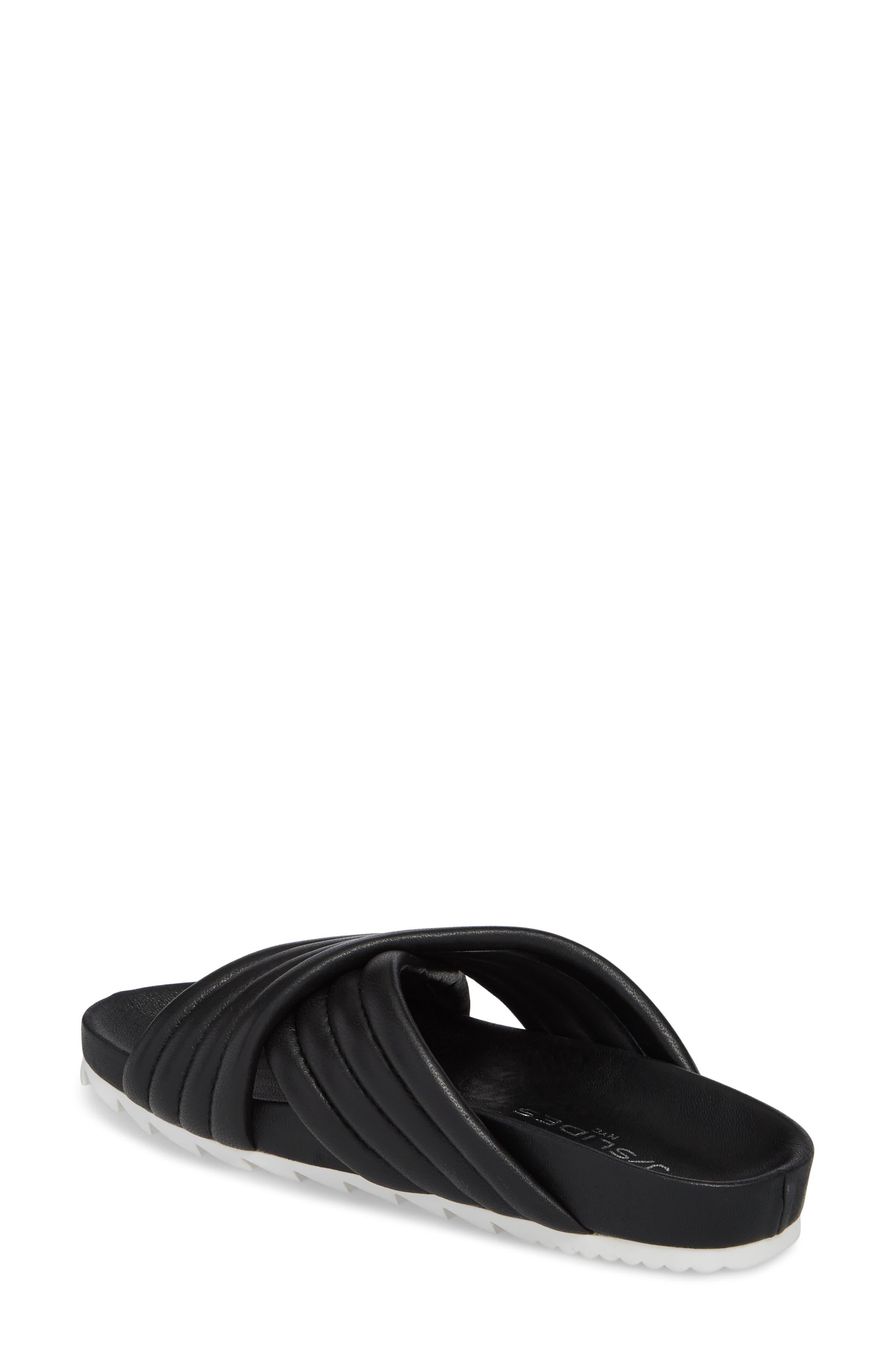 Easy Slide Sandal,                             Alternate thumbnail 2, color,                             BLACK LEATHER